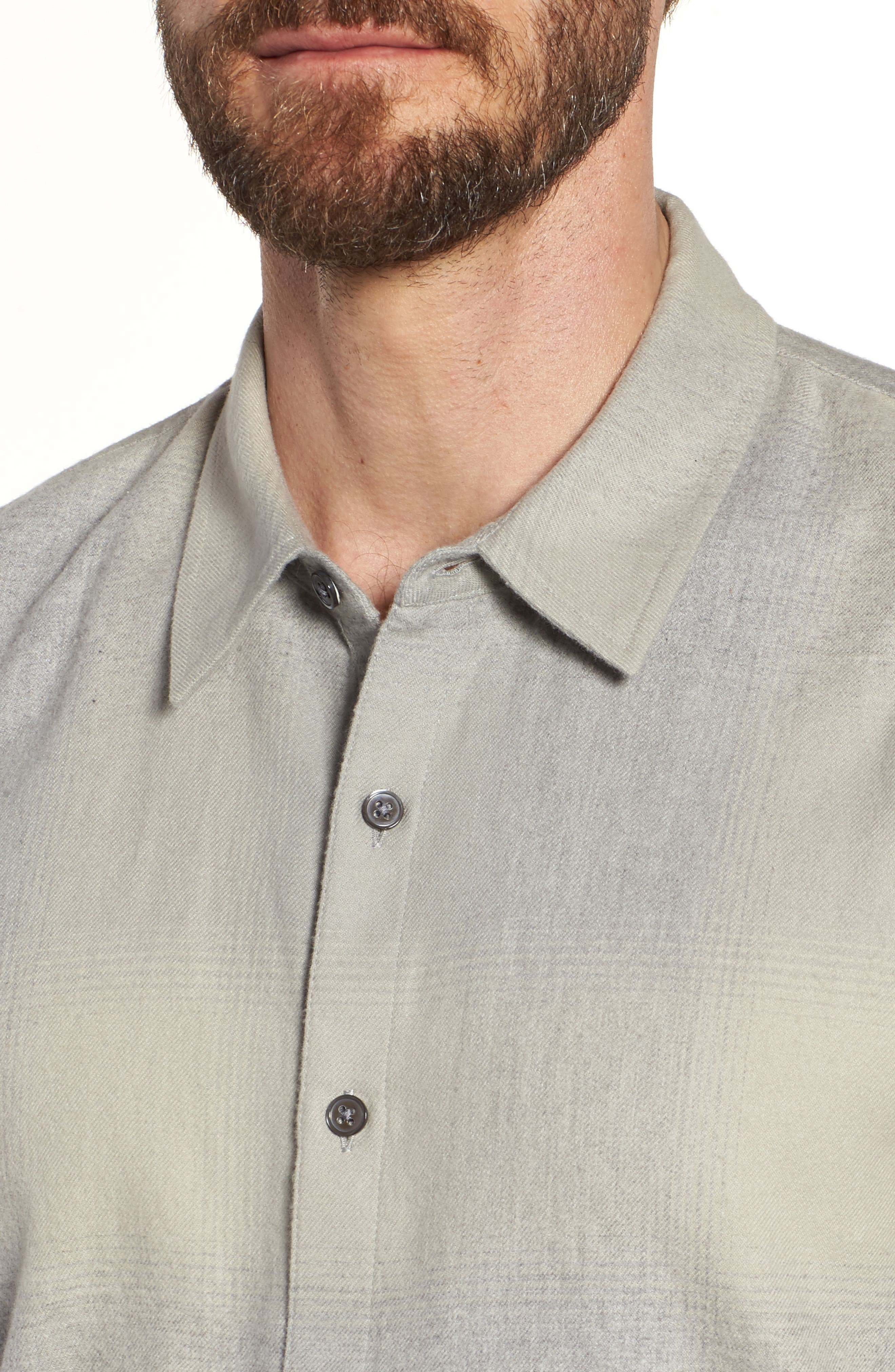 Ghost Regular Fit Plaid Sport Shirt,                             Alternate thumbnail 4, color,                             Grey