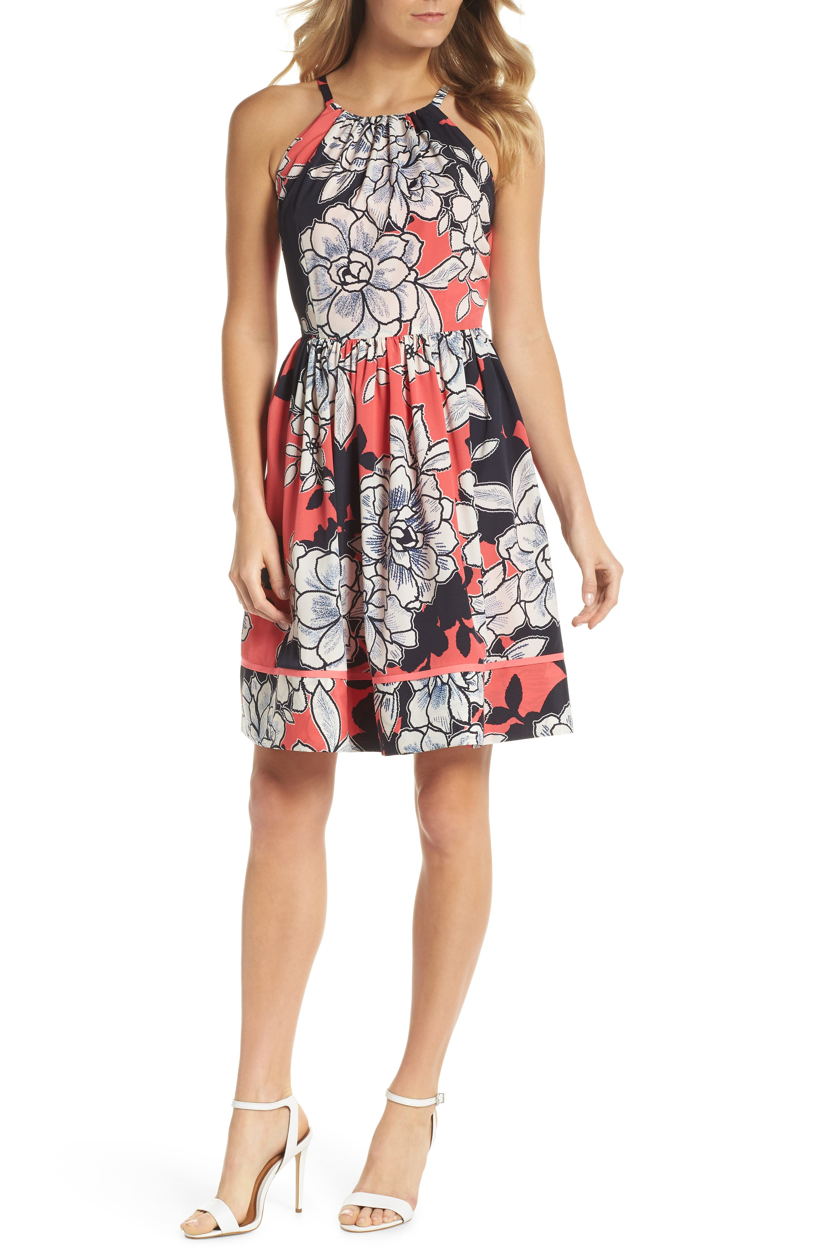 Floral Fit-and-Flare Dress,                         Main,                         color, Pink Multi