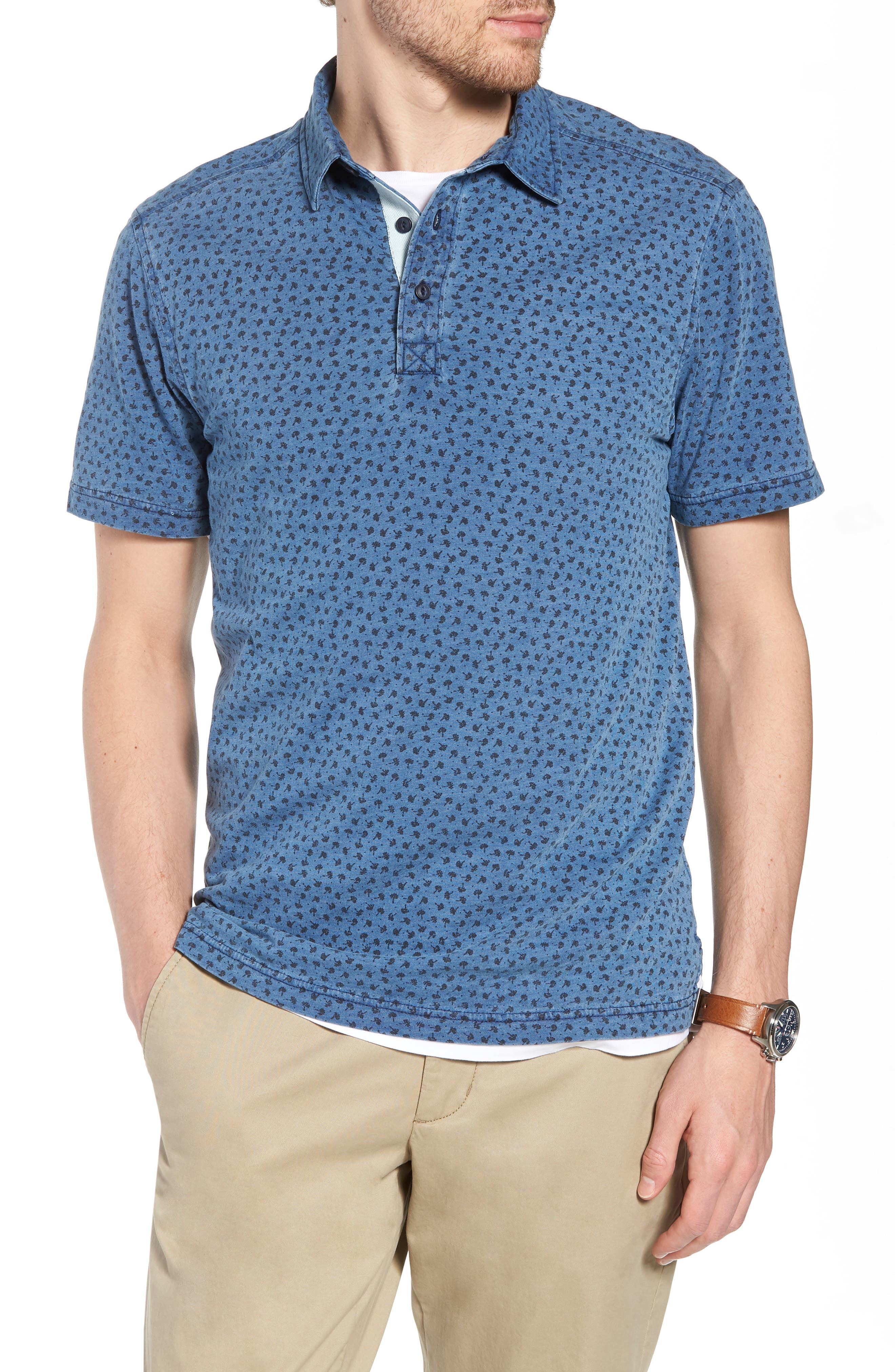 Print Cotton Polo,                         Main,                         color, Blue Indigo Print