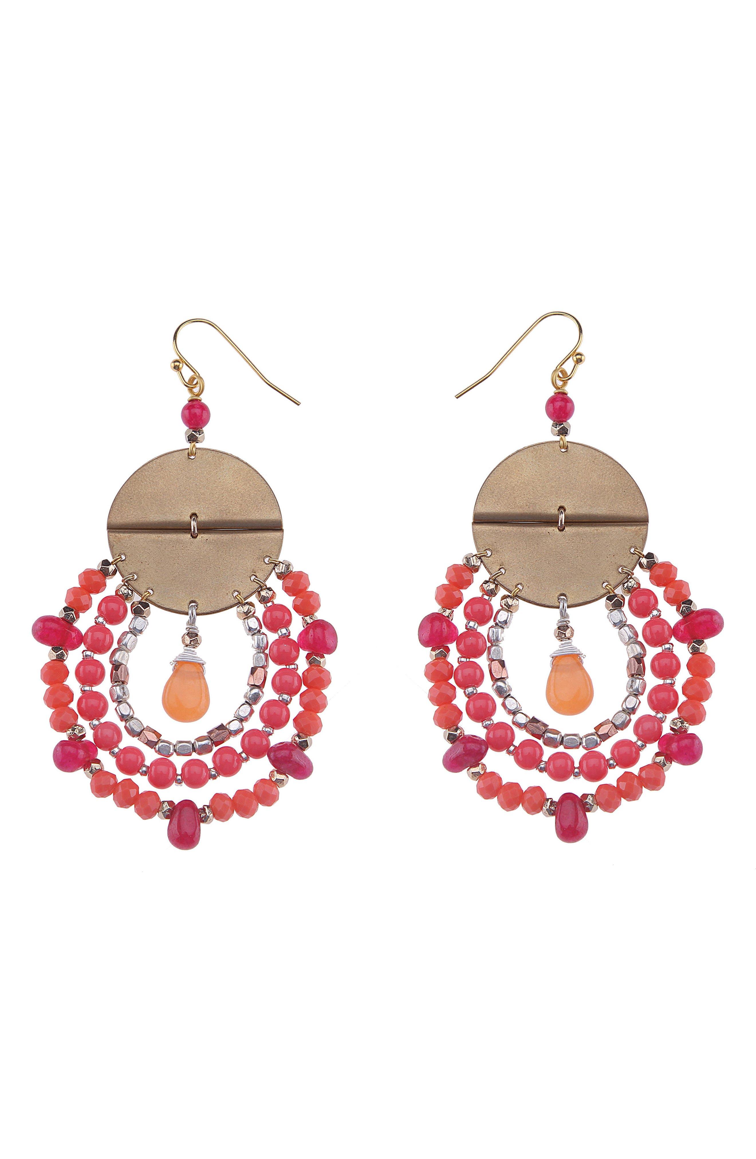 Rose Mixed Media Drop Earrings,                         Main,                         color, Pink Multi