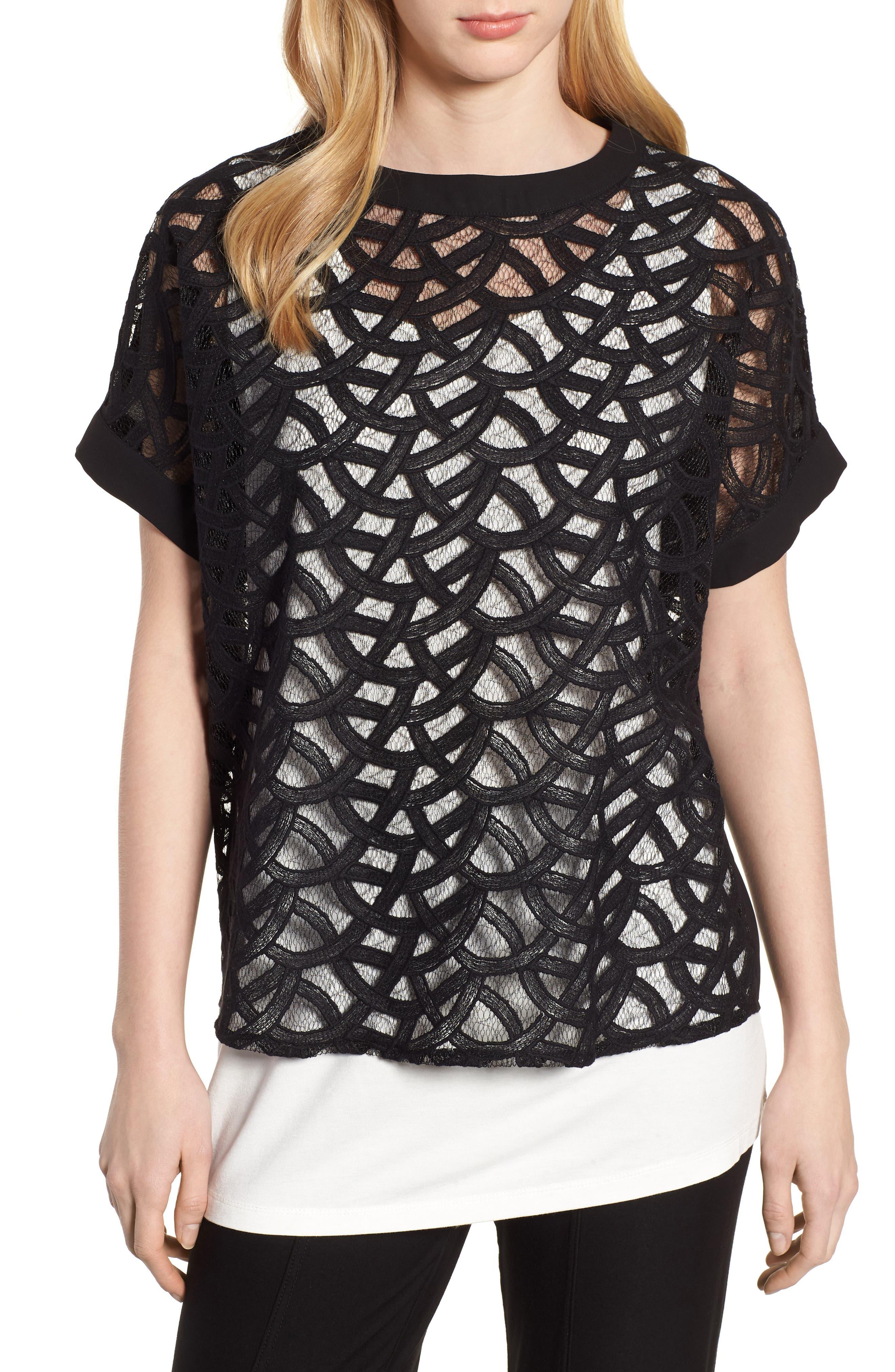 Lace Front Top,                         Main,                         color, Black