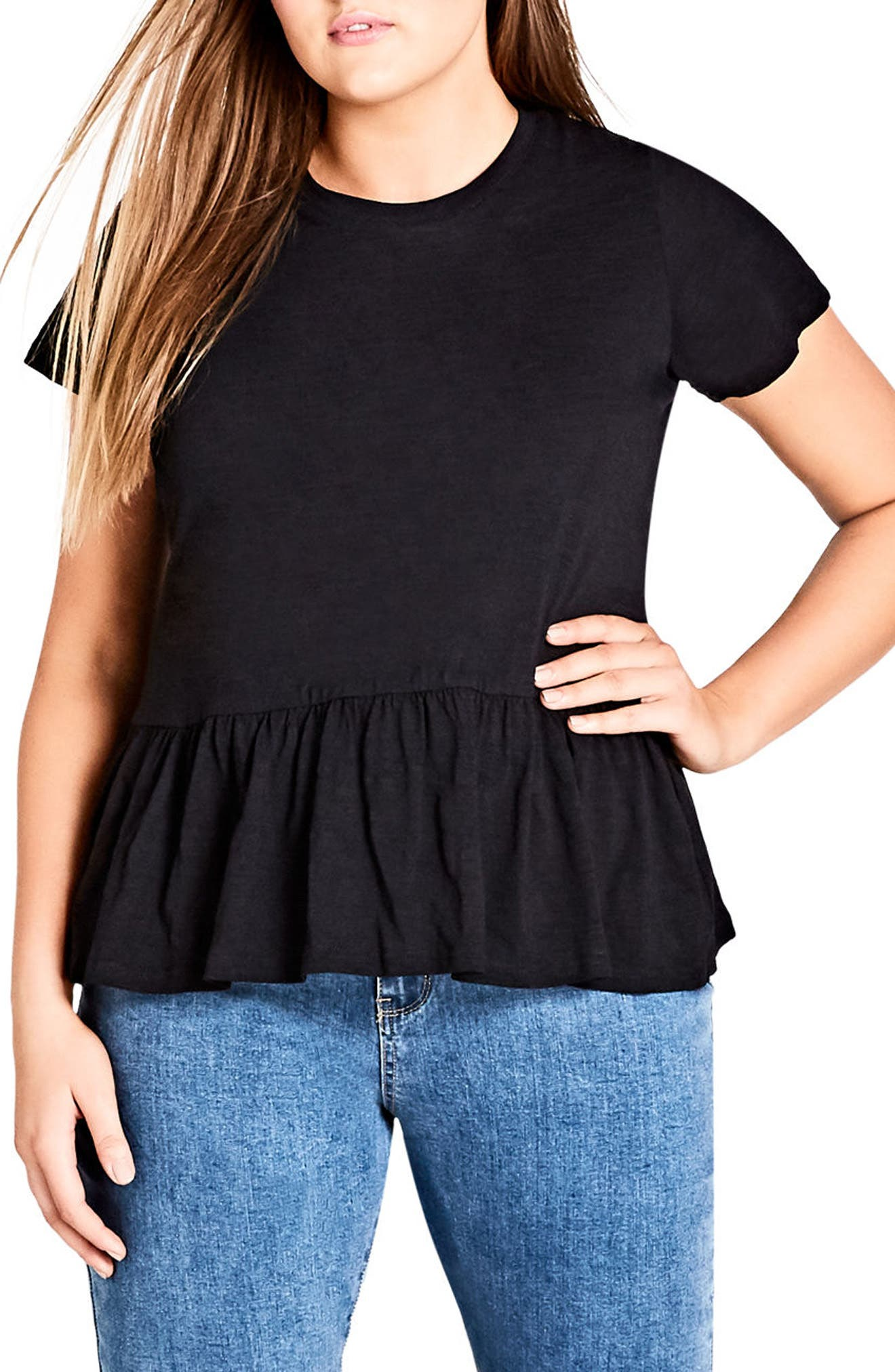 Spring Frill Cotton Top,                         Main,                         color, Black