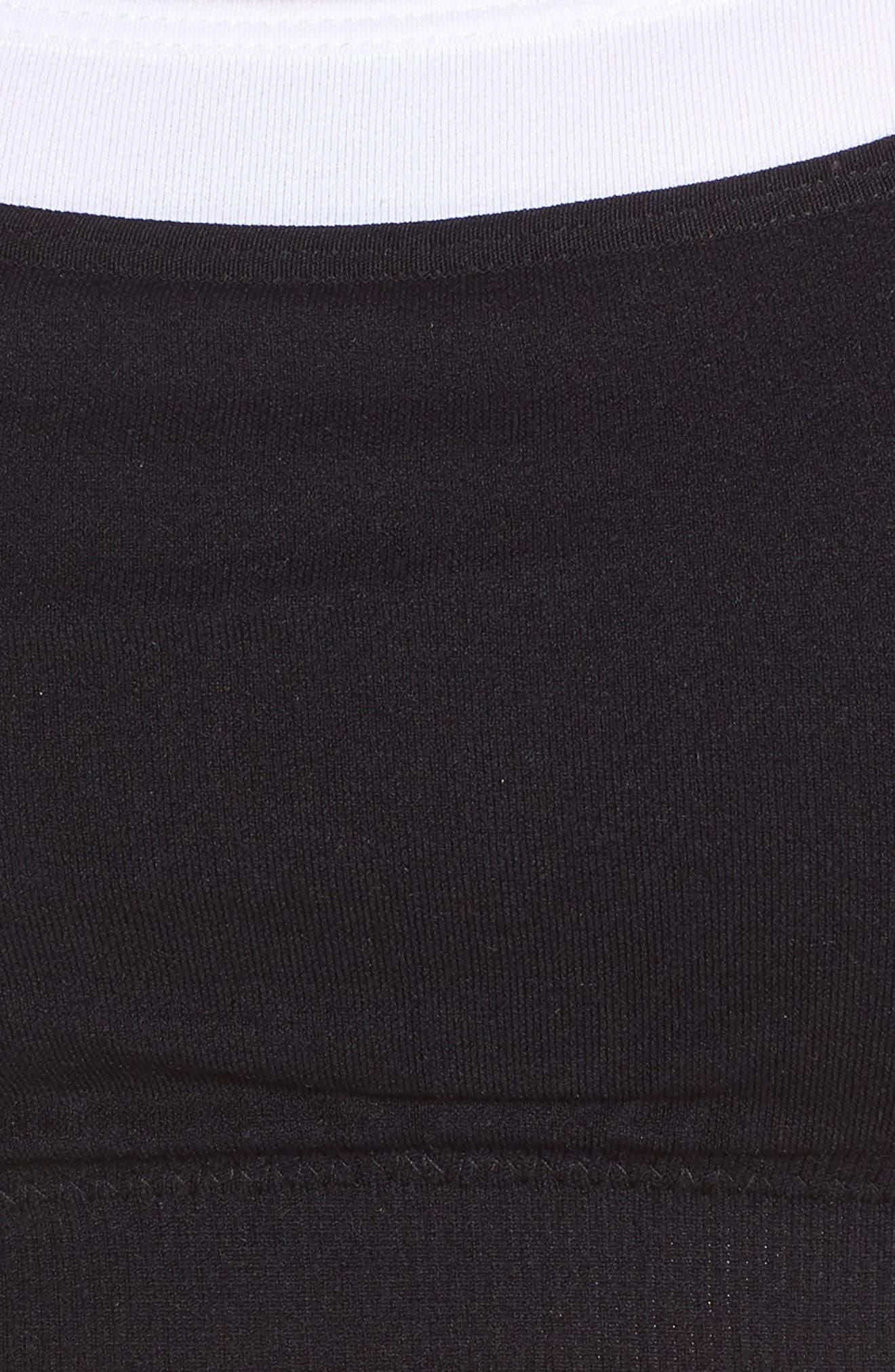Caroline Seamless Layered Sports Bra,                             Alternate thumbnail 6, color,                             Black/ White