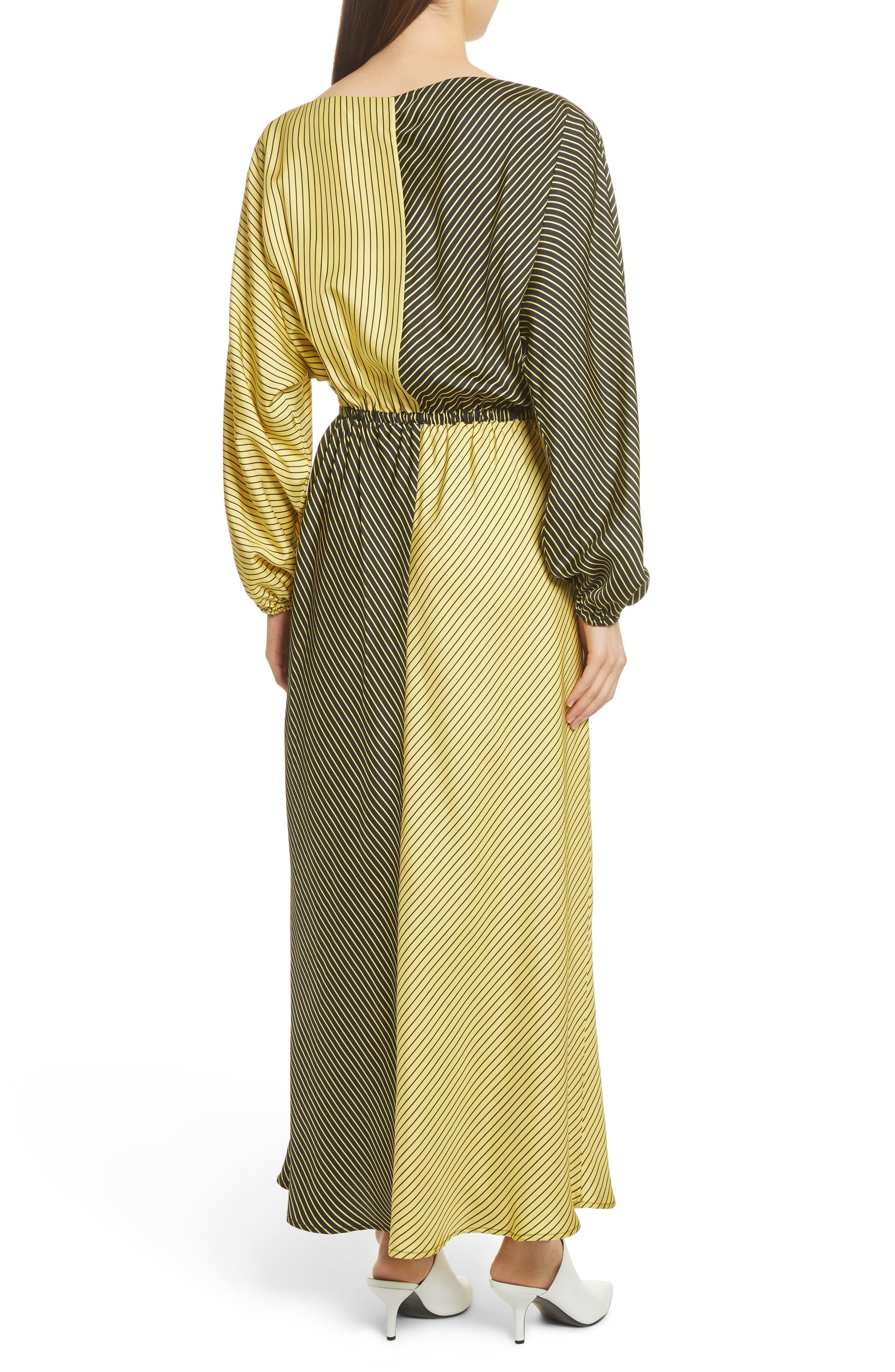 Colorblock Stripe Dress,                             Alternate thumbnail 3, color,                             Black/ Yellow