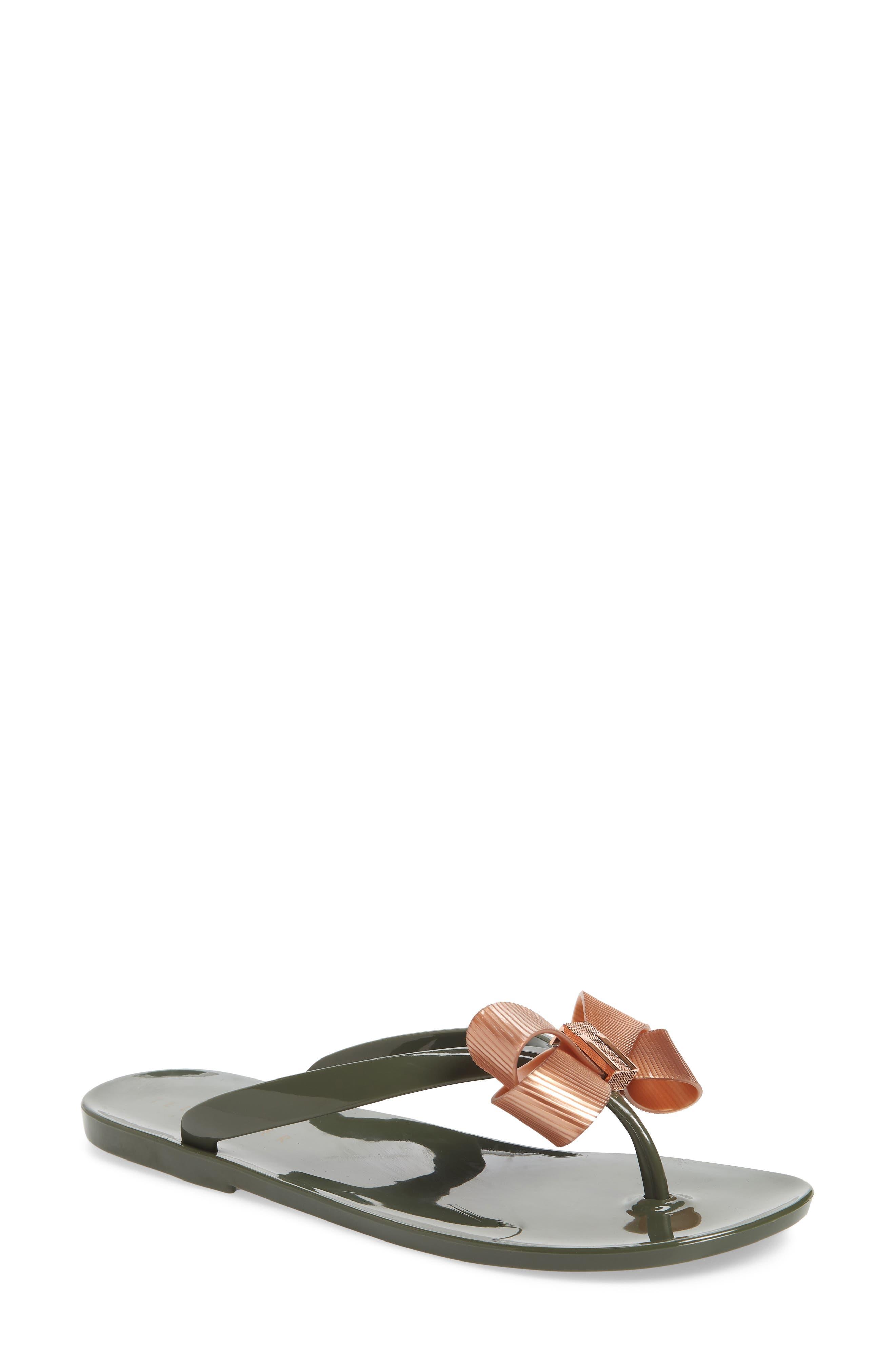 Suszie Flip Flop,                             Main thumbnail 1, color,                             Khaki/ Rose Gold Fabric