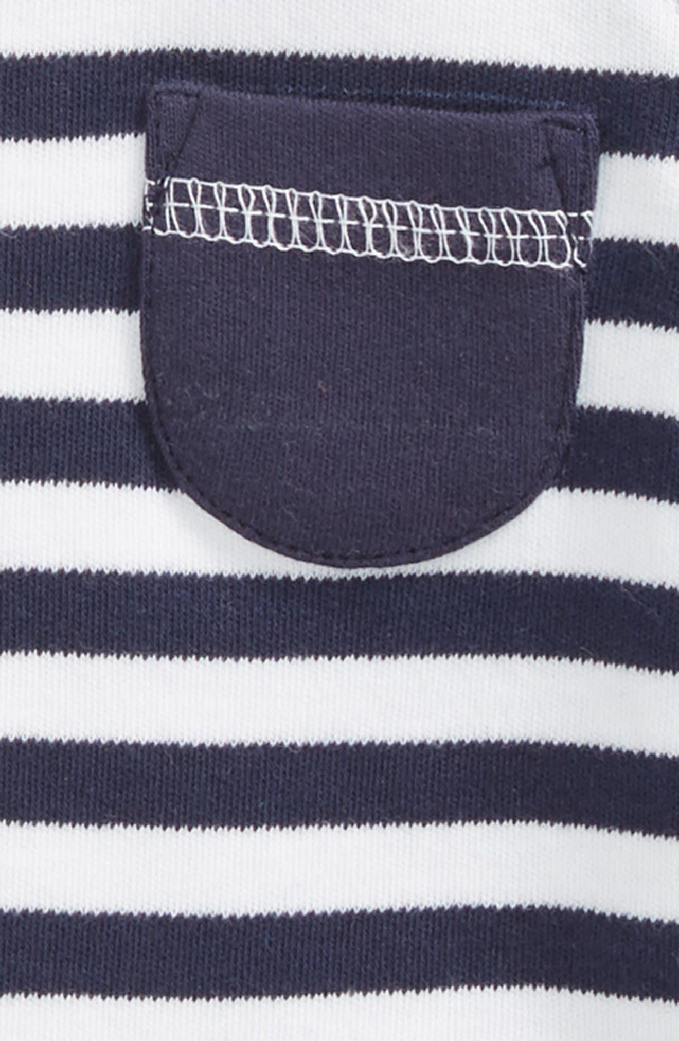 Stripe Organic Cotton Raglan T-Shirt,                             Alternate thumbnail 2, color,                             Navy/ White