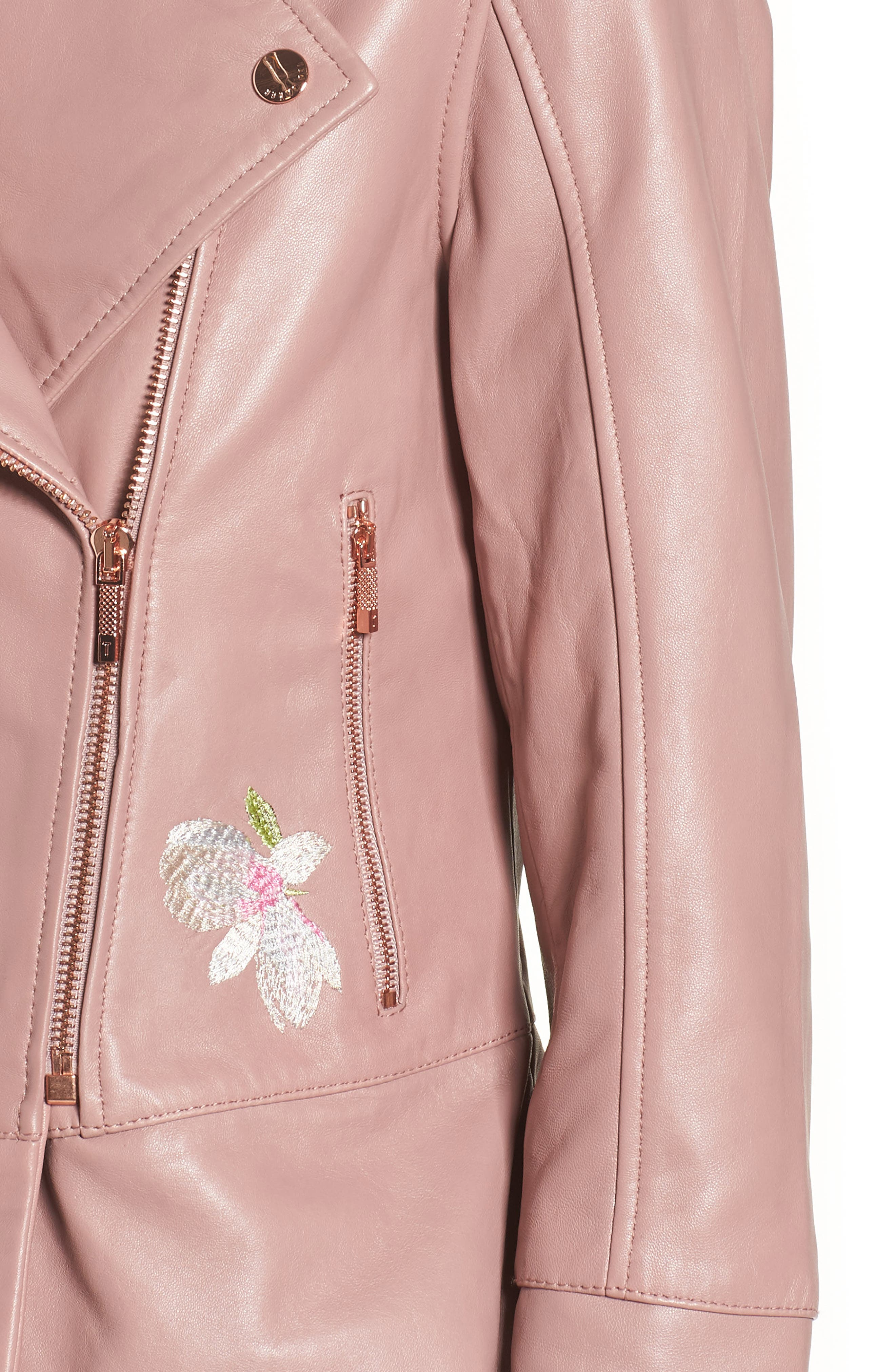 Harmony Embroidered Leather Biker Jacket,                             Alternate thumbnail 4, color,                             Dusky Pink