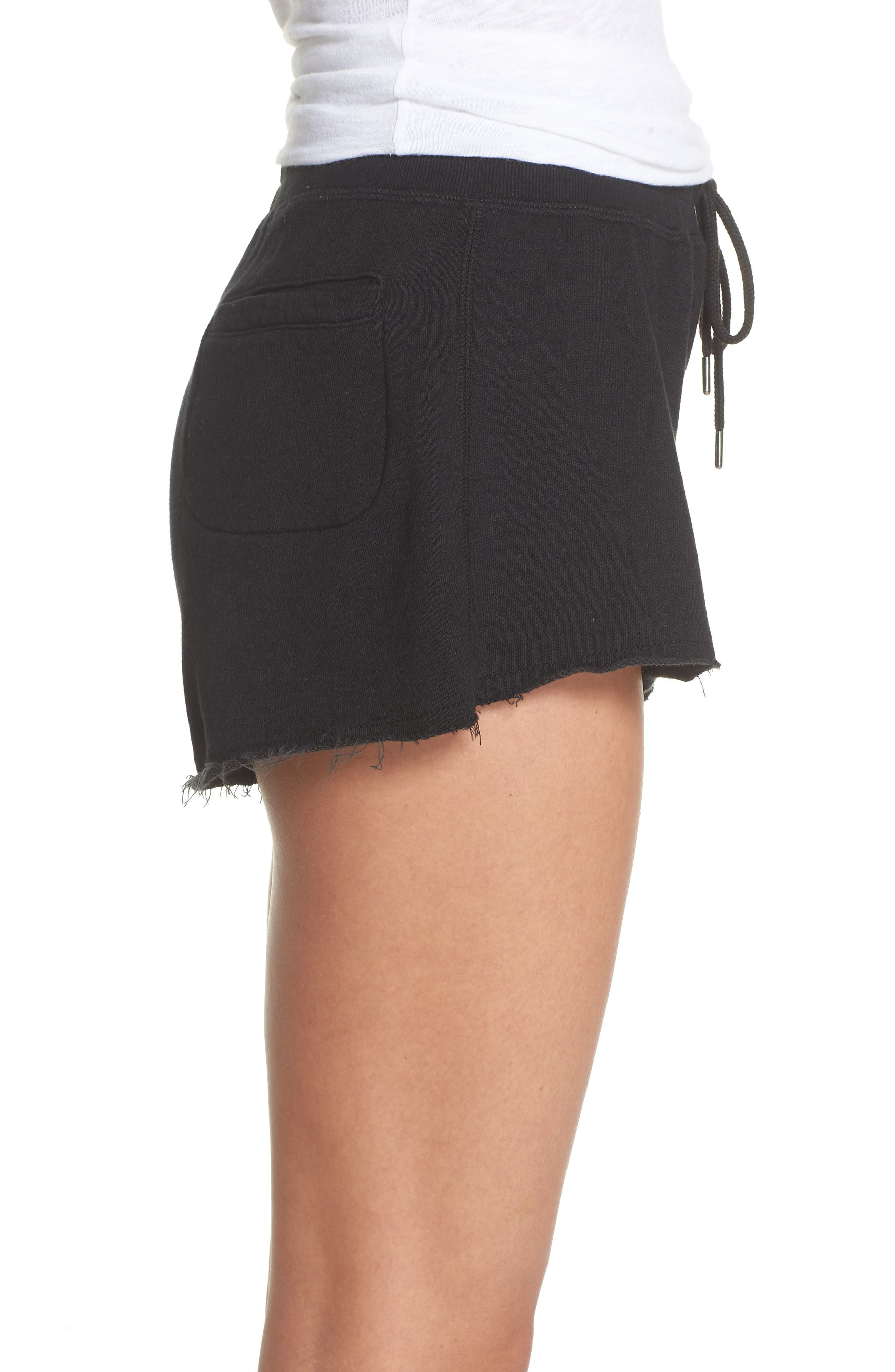 French Terry Sleep Shorts,                             Alternate thumbnail 3, color,                             Faded Black