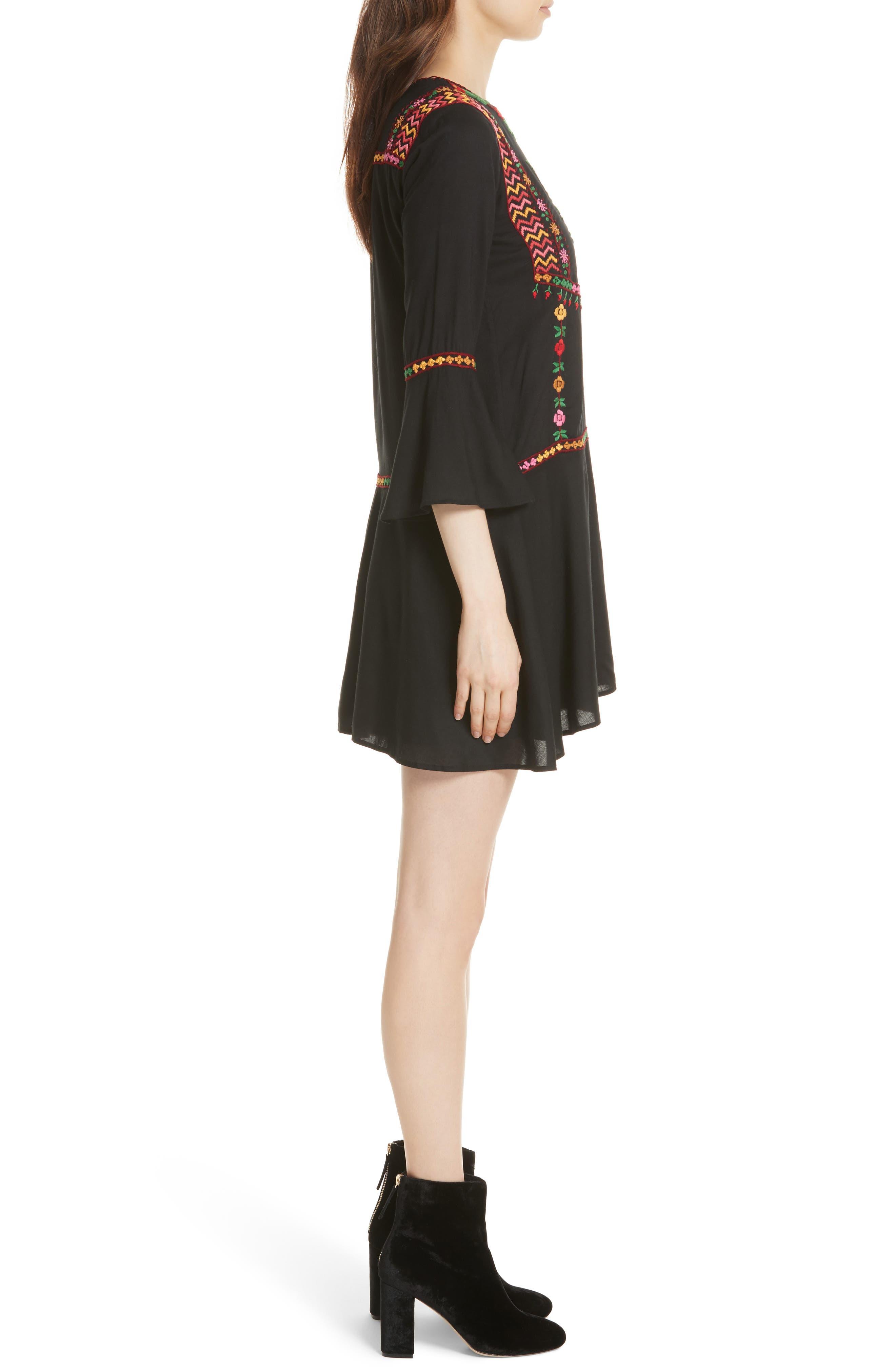 Gosinda Embroidered Dress,                             Alternate thumbnail 3, color,                             Caviar/ Multi