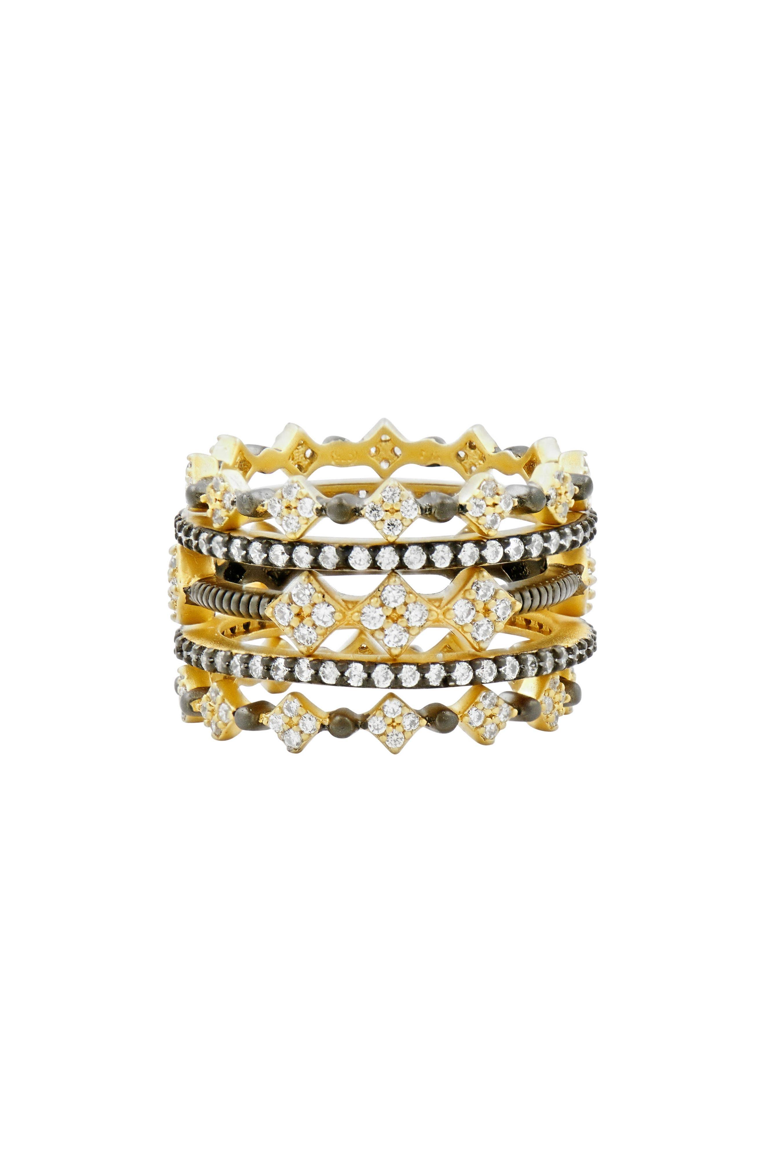 Rose Dor 5-Stack Rings,                         Main,                         color, Black Rhodium/ Gold
