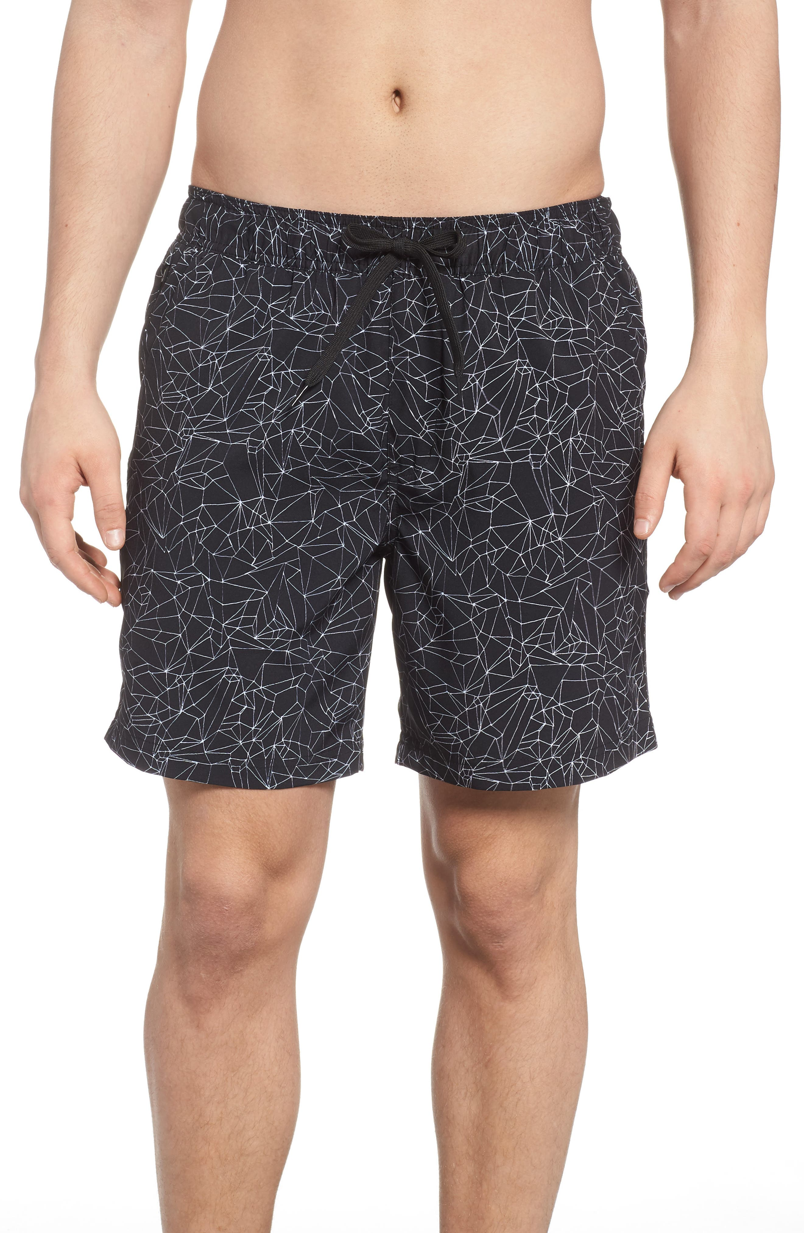 Zella Stretch Print Swim Trunks