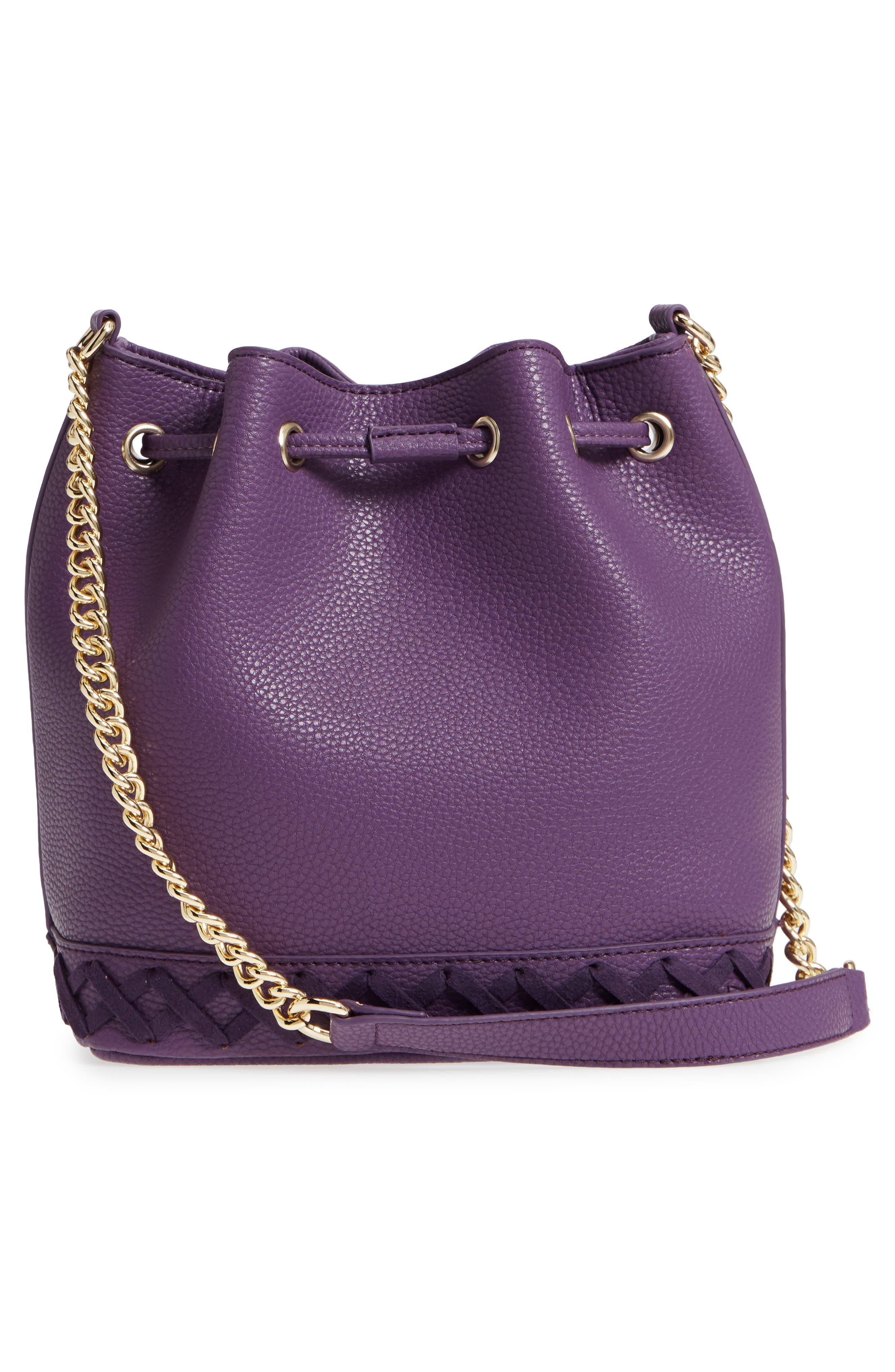 Veronica Faux Leather Bucket Bag,                             Alternate thumbnail 3, color,                             Purple