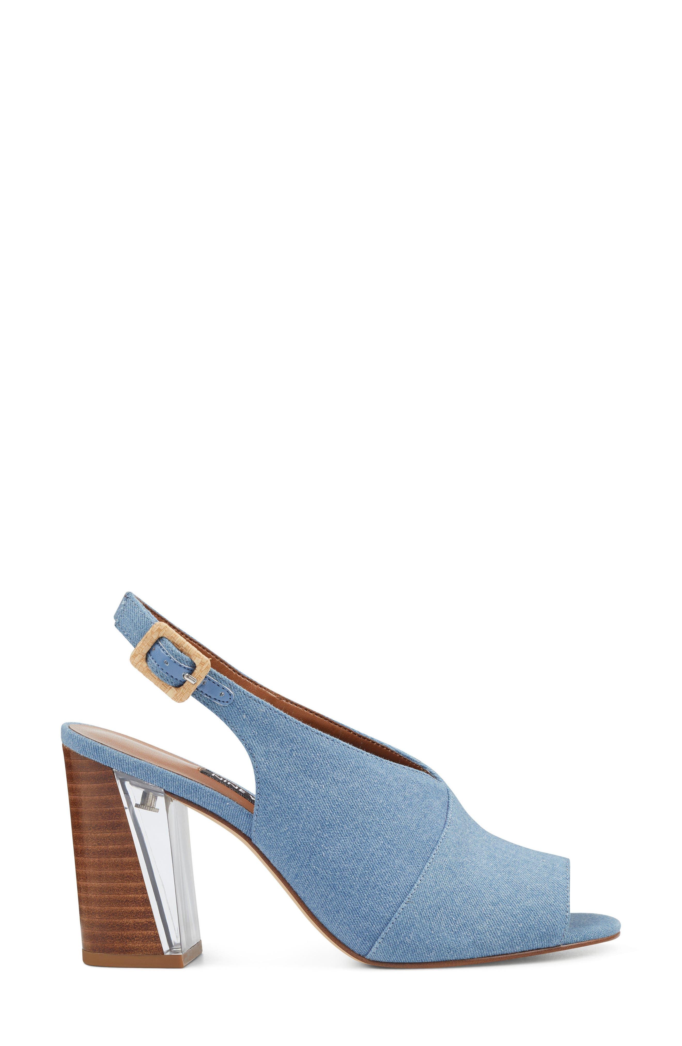 Morenzo Slingback Sandal,                             Alternate thumbnail 3, color,                             Light Blue Fabric
