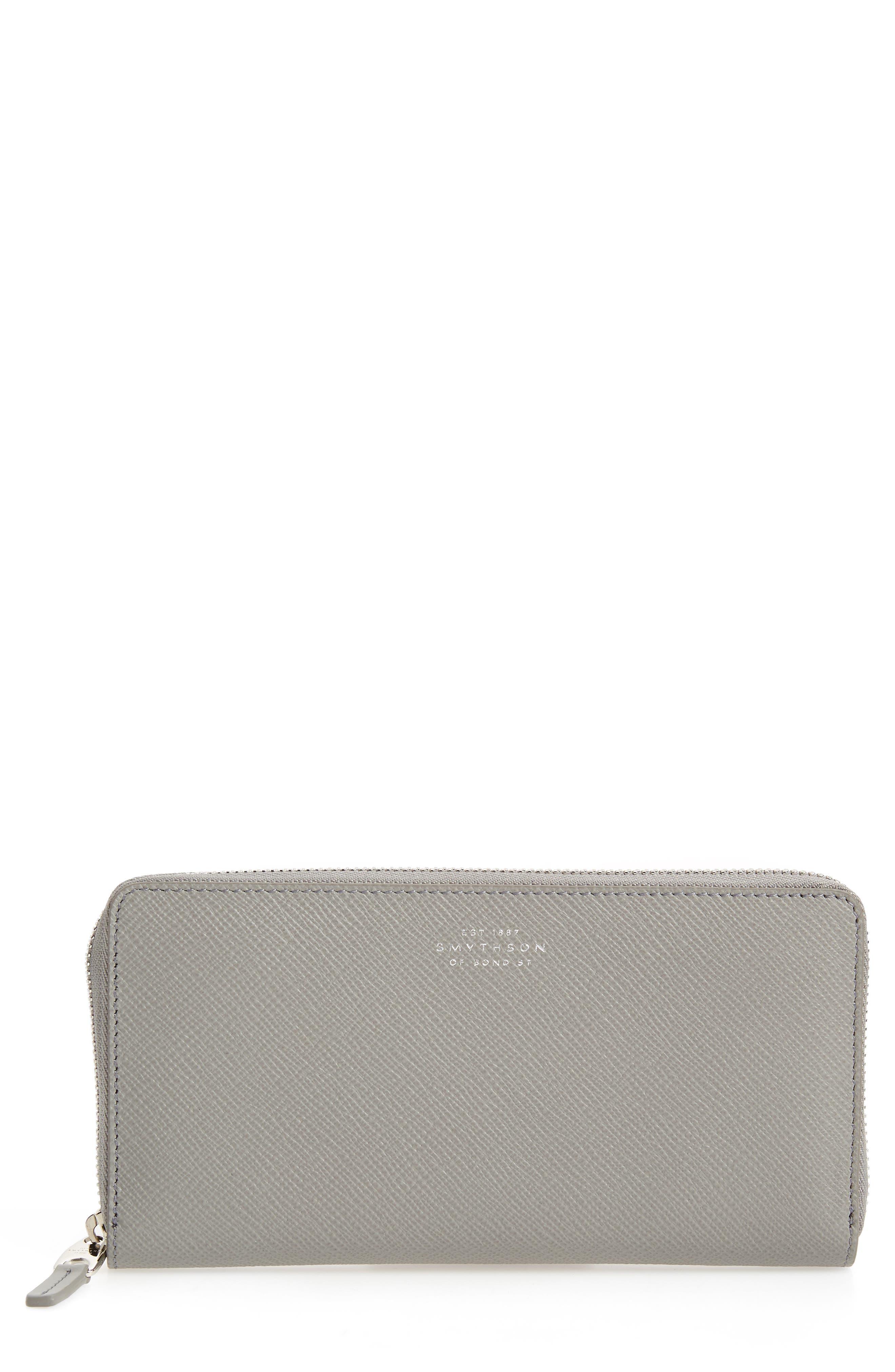 Large Panama Zip Around Wallet,                         Main,                         color, Cold Grey