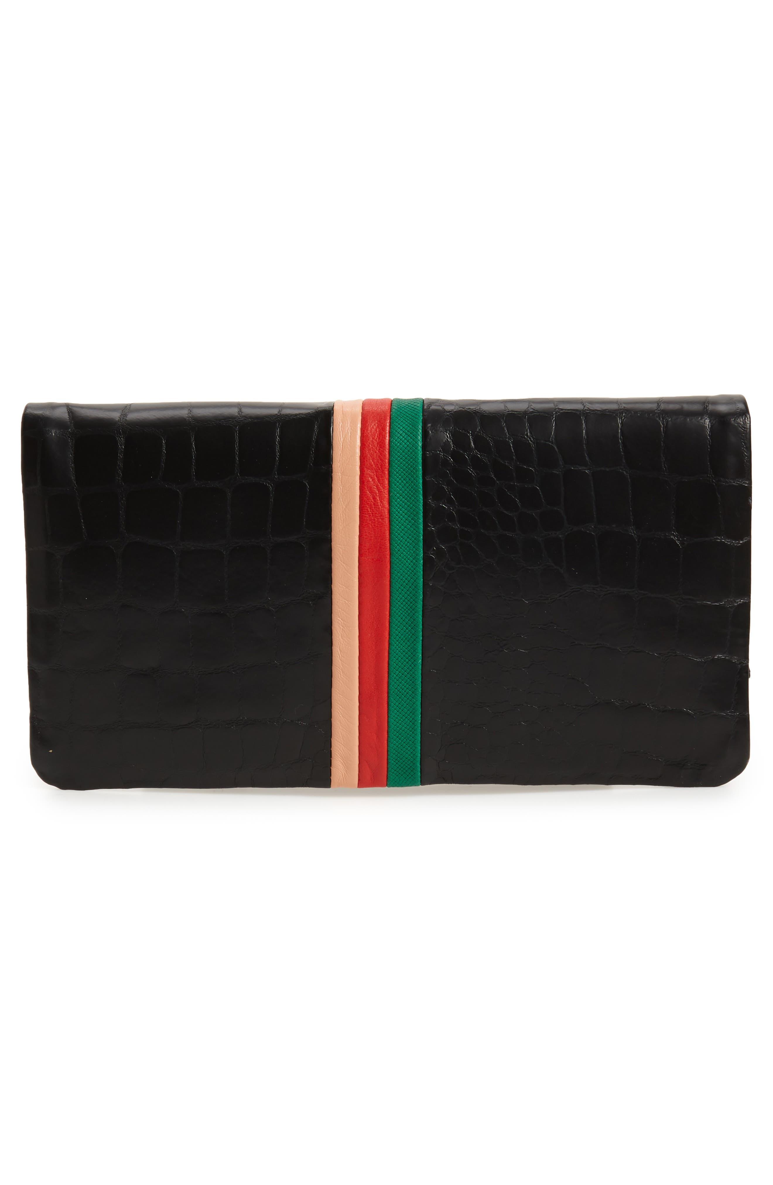 Croc Embossed Leather Foldover Clutch,                             Alternate thumbnail 3, color,                             Desert Stripe
