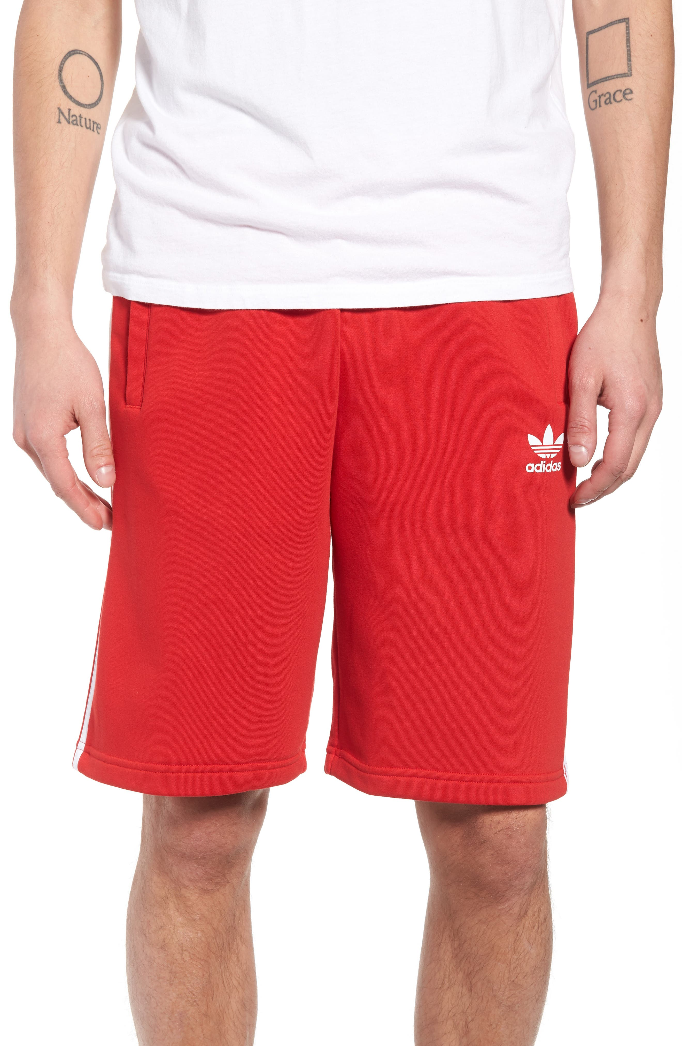 3-Stripes Shorts,                             Main thumbnail 1, color,                             Red/ White