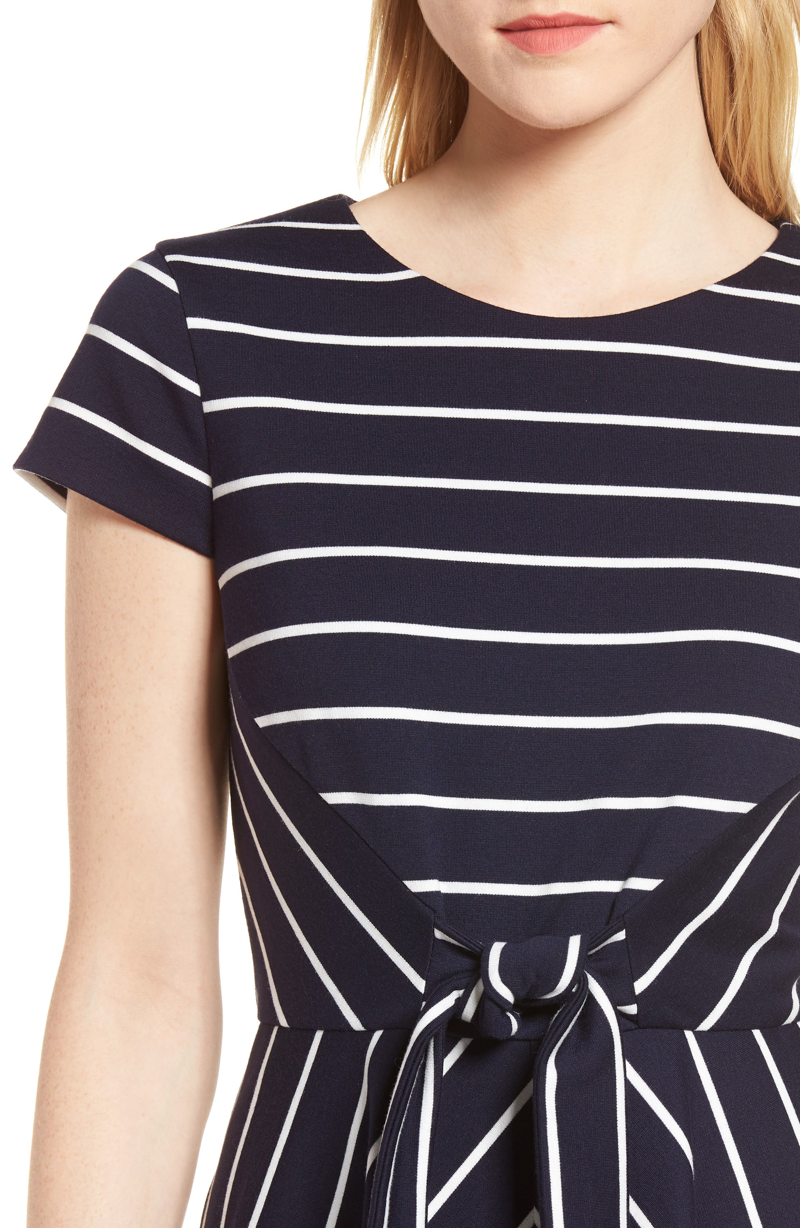 Stripe Ponte Fit & Flare Dress,                             Alternate thumbnail 4, color,                             Navy- White Stripe