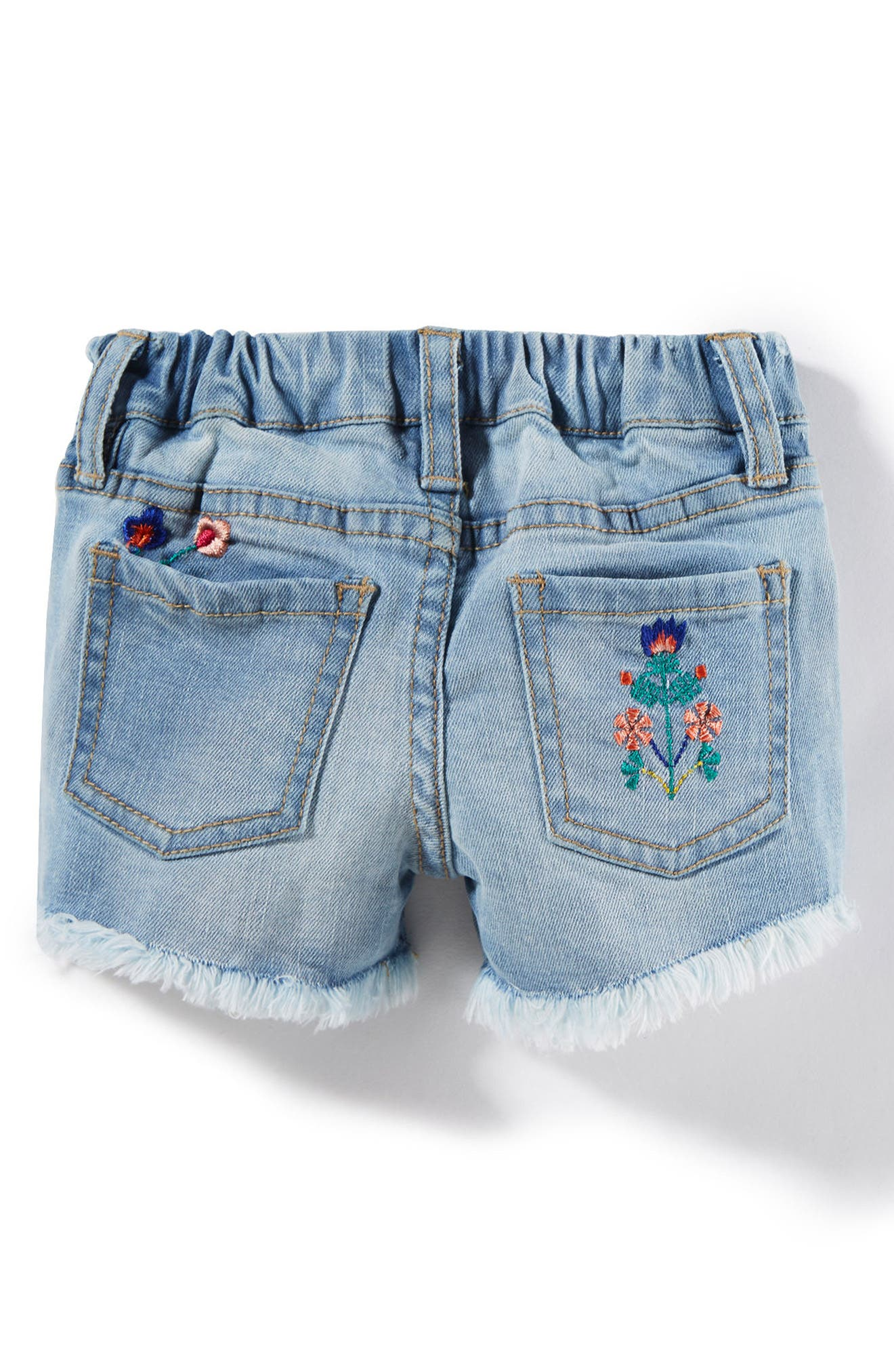 Griffin Embroidered Cuff Denim Shorts,                             Alternate thumbnail 2, color,                             Bleach