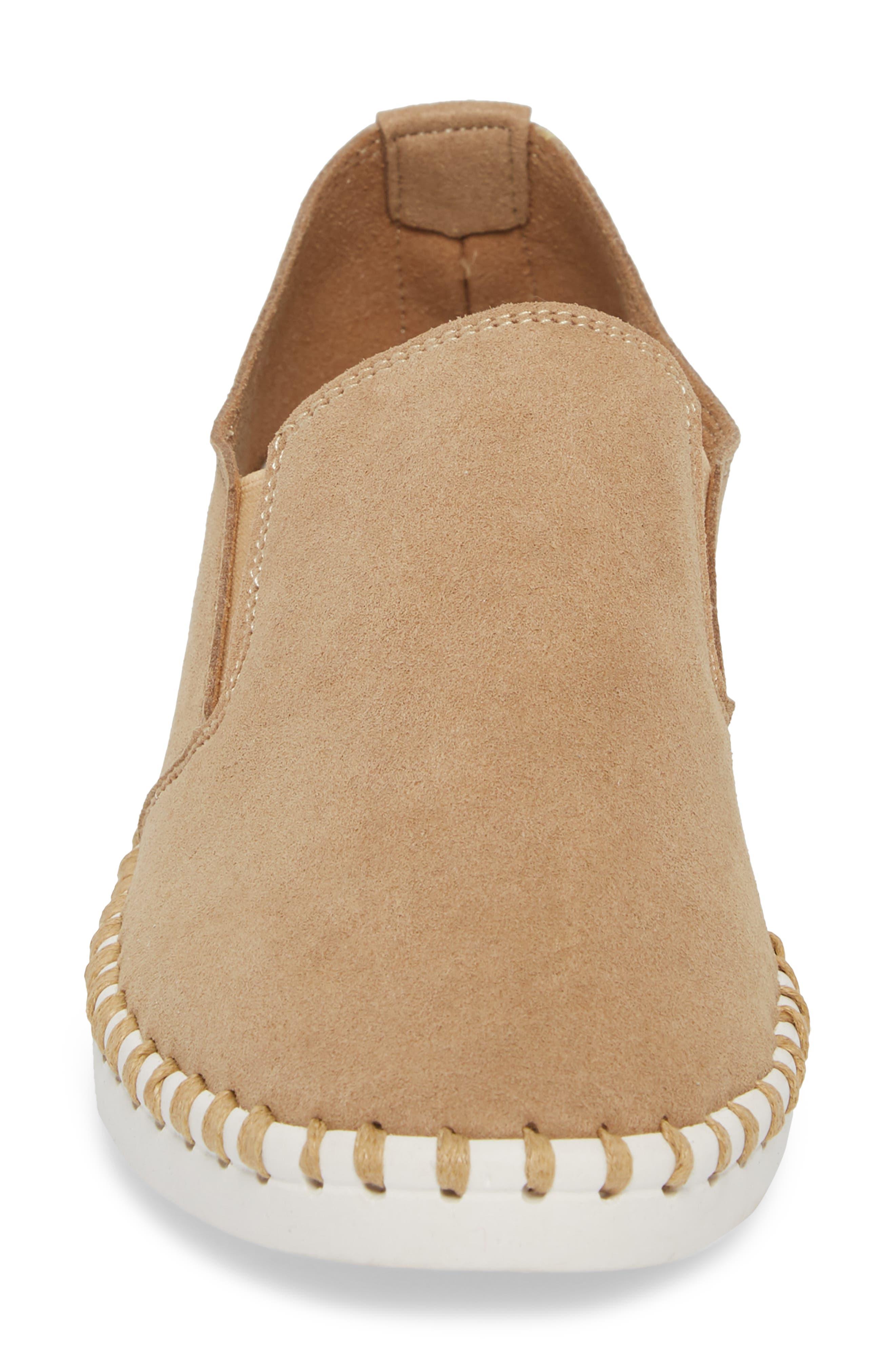 Salinas Waterproof Slip-On Sneaker,                             Alternate thumbnail 4, color,                             Tan Fabric