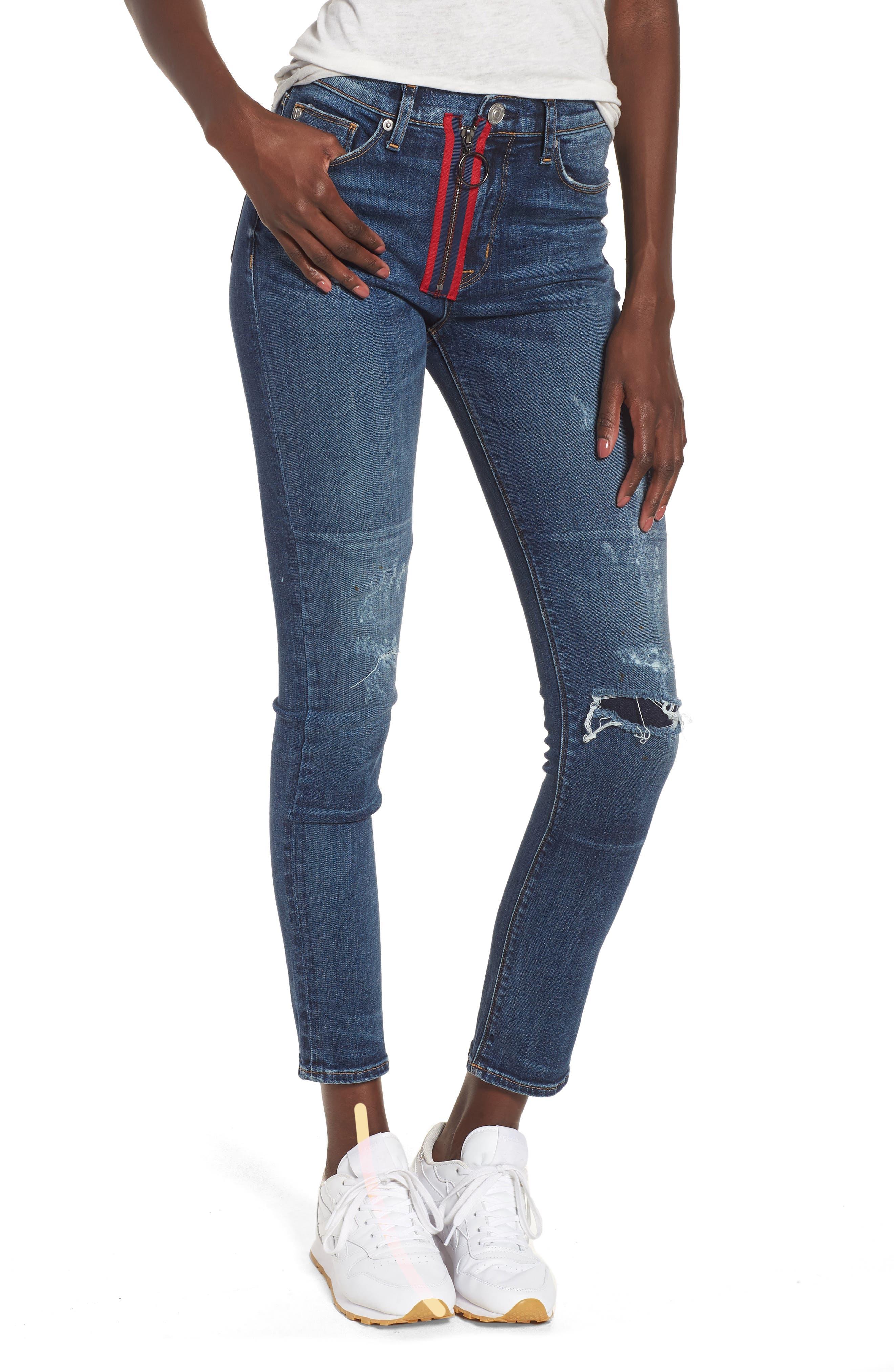 Hudson Jeans Barbara Exposed Zip High Waist Ankle Skinny Jeans (Vibez)