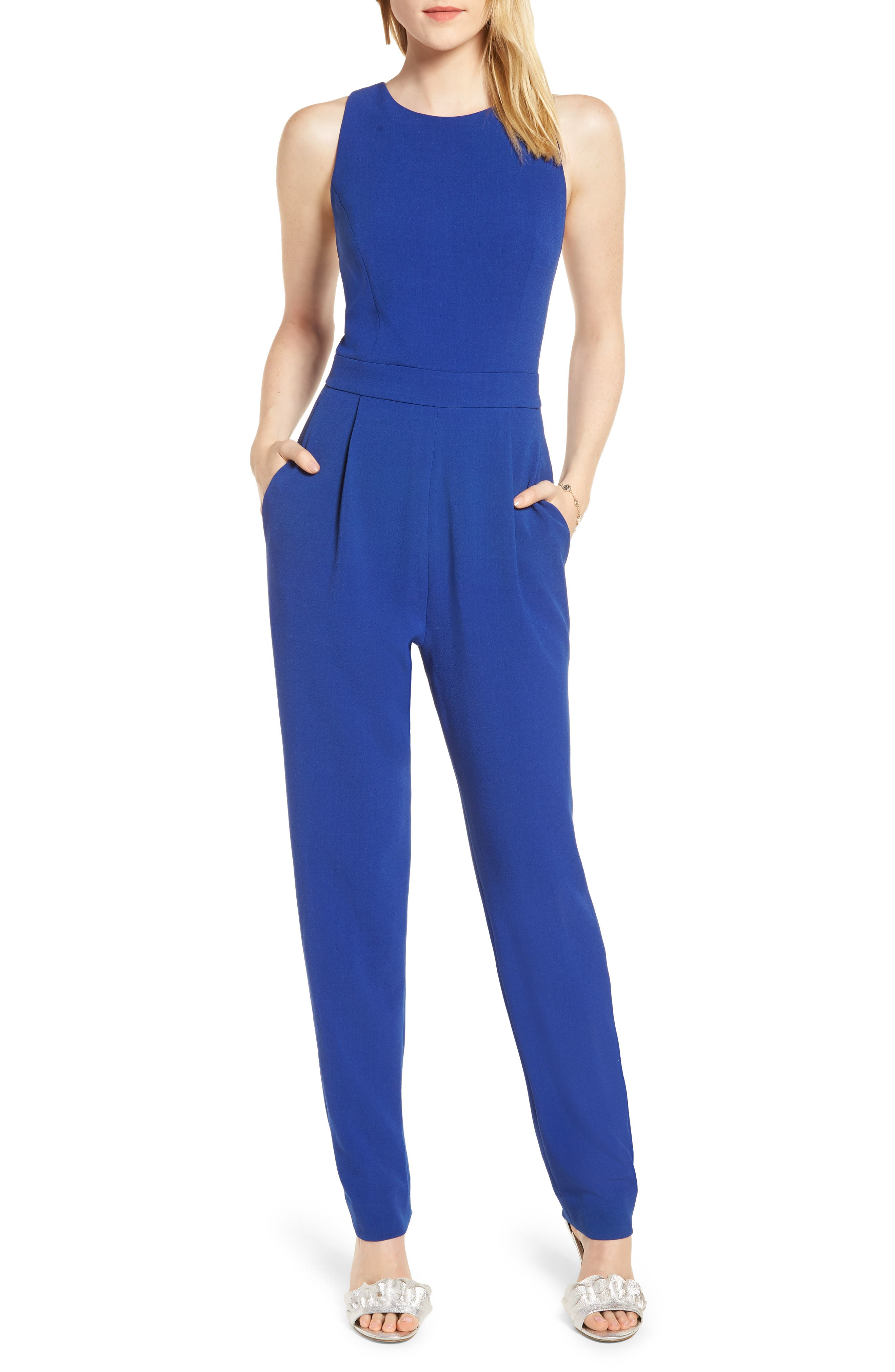 Bow Back Jumpsuit,                         Main,                         color, Blue Mazarine