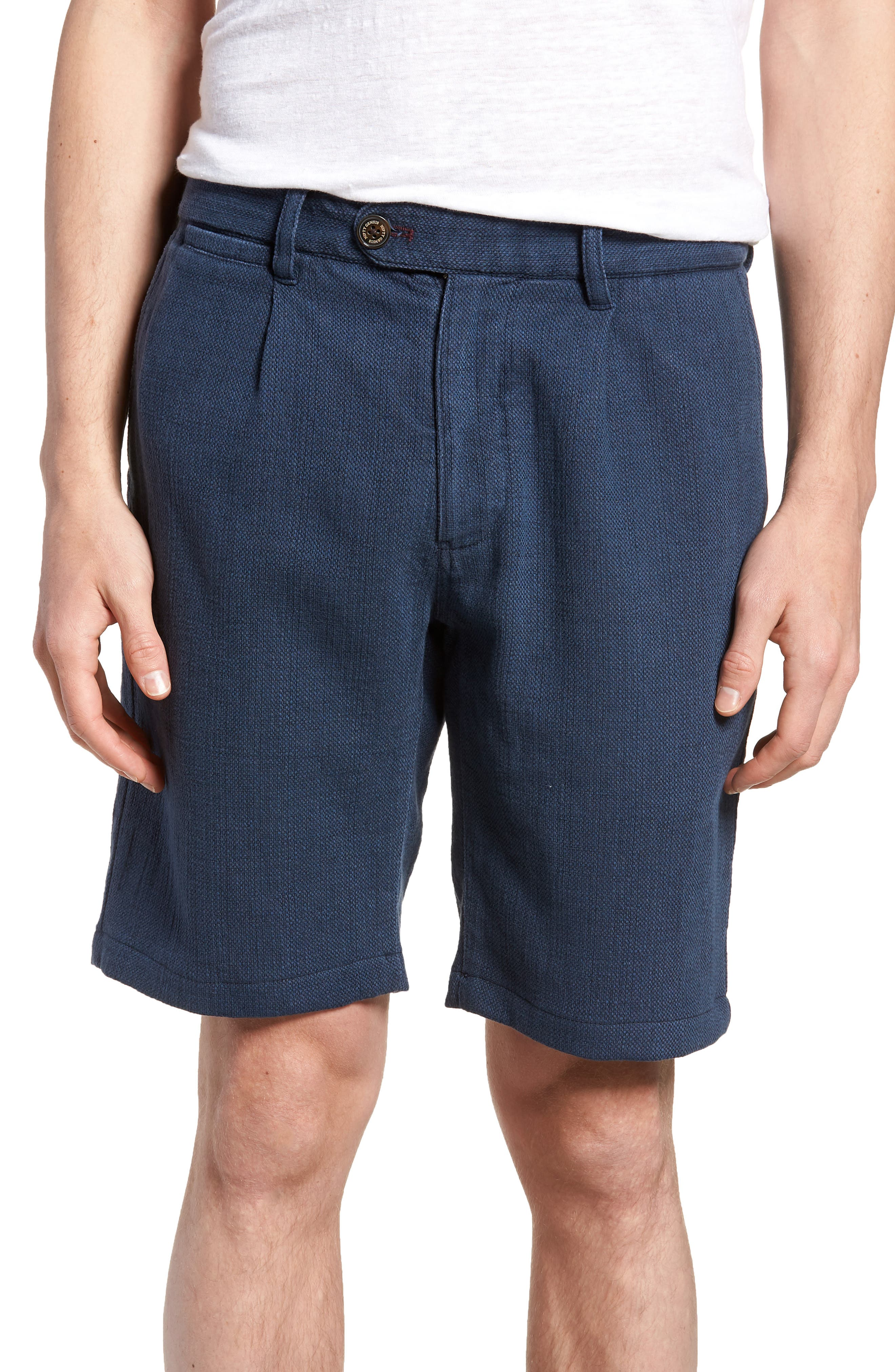 Thomas Regular Fit Pleated Shorts,                         Main,                         color, Blue
