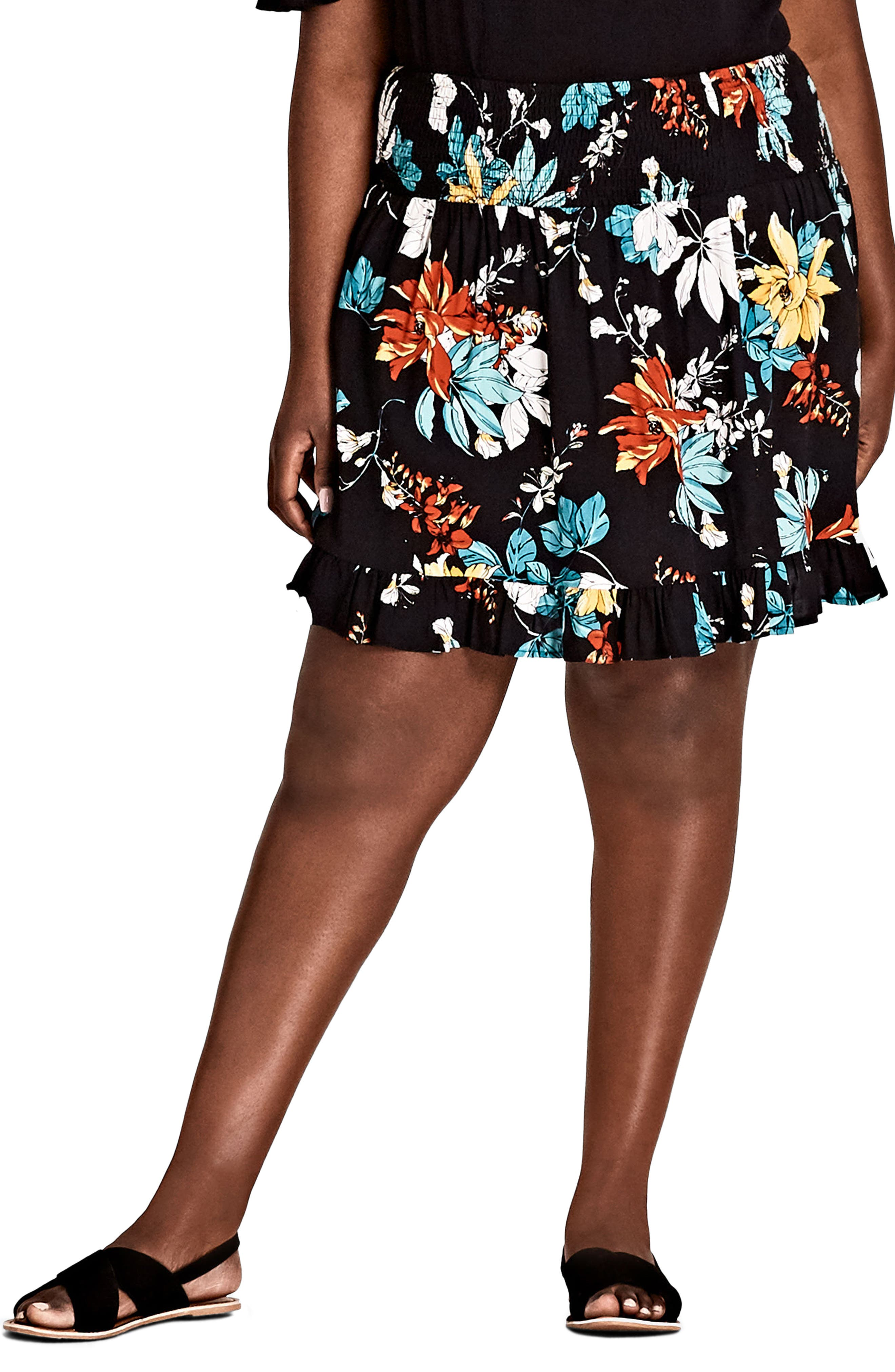 City Chic Tropical Print Skirt (Plus Size)