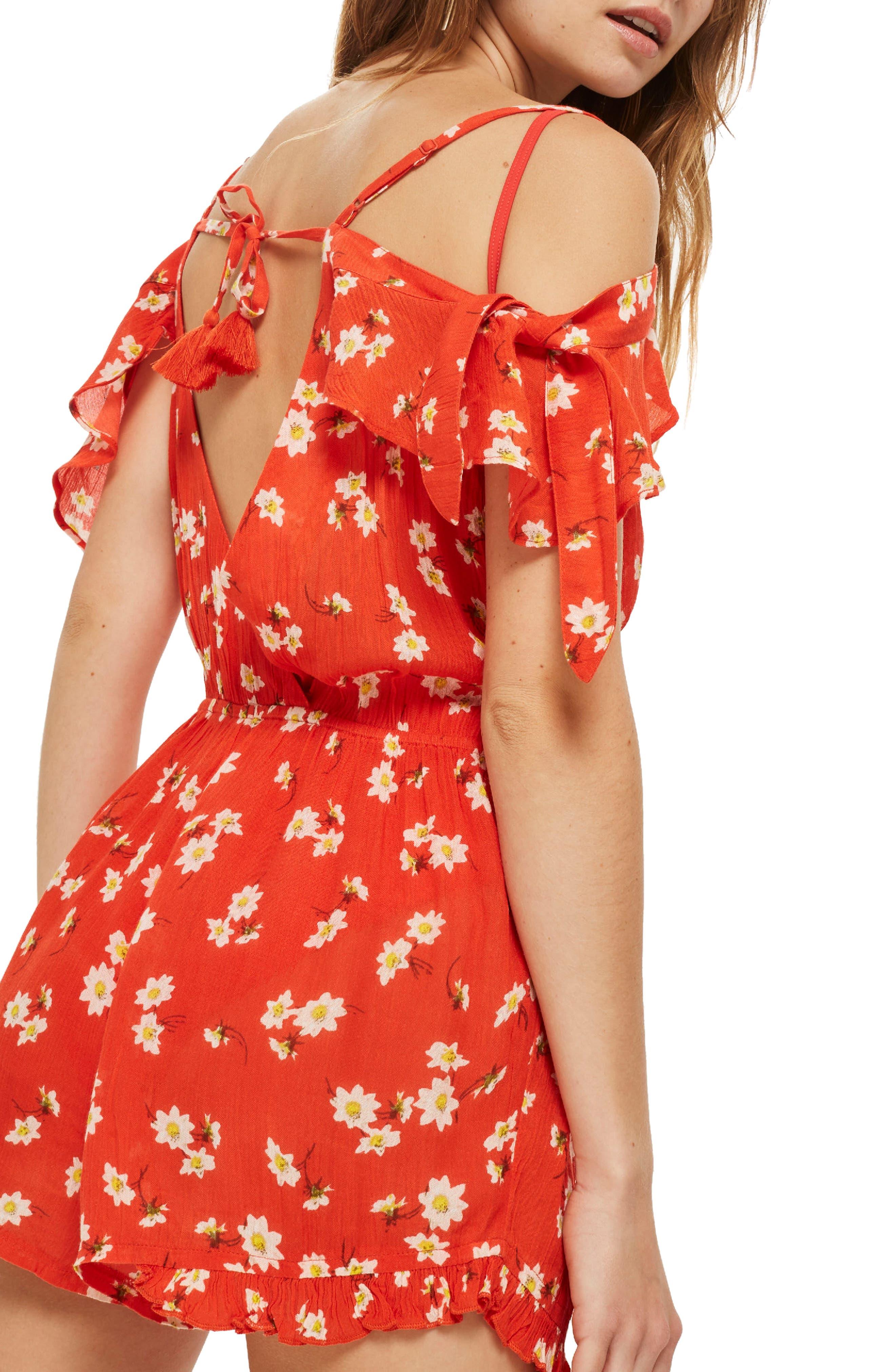 Daisy Floral Print Jumpsuit,                             Alternate thumbnail 2, color,                             Red Multi