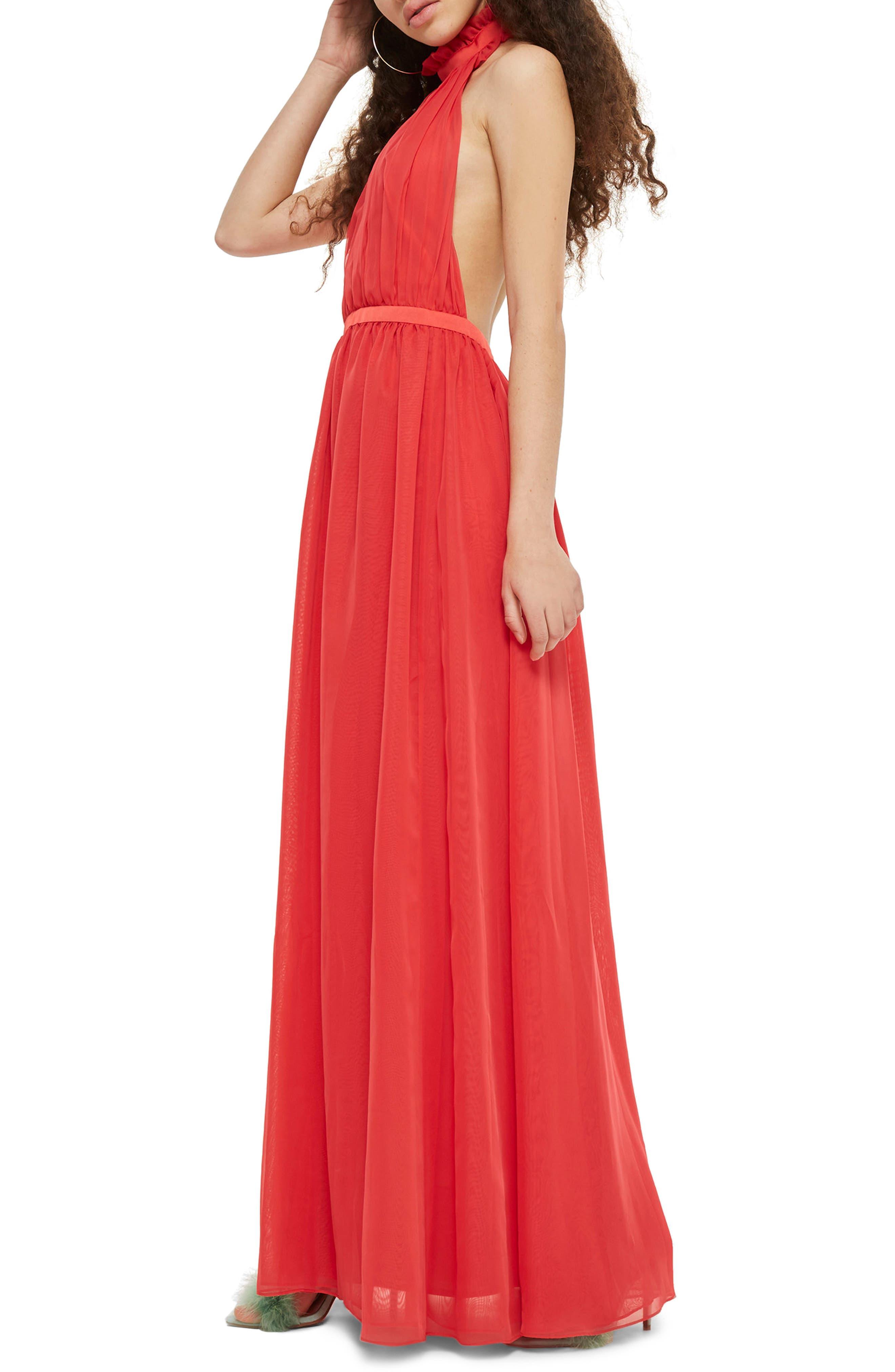 Taylor Halter Maxi Dress,                             Main thumbnail 1, color,                             Red