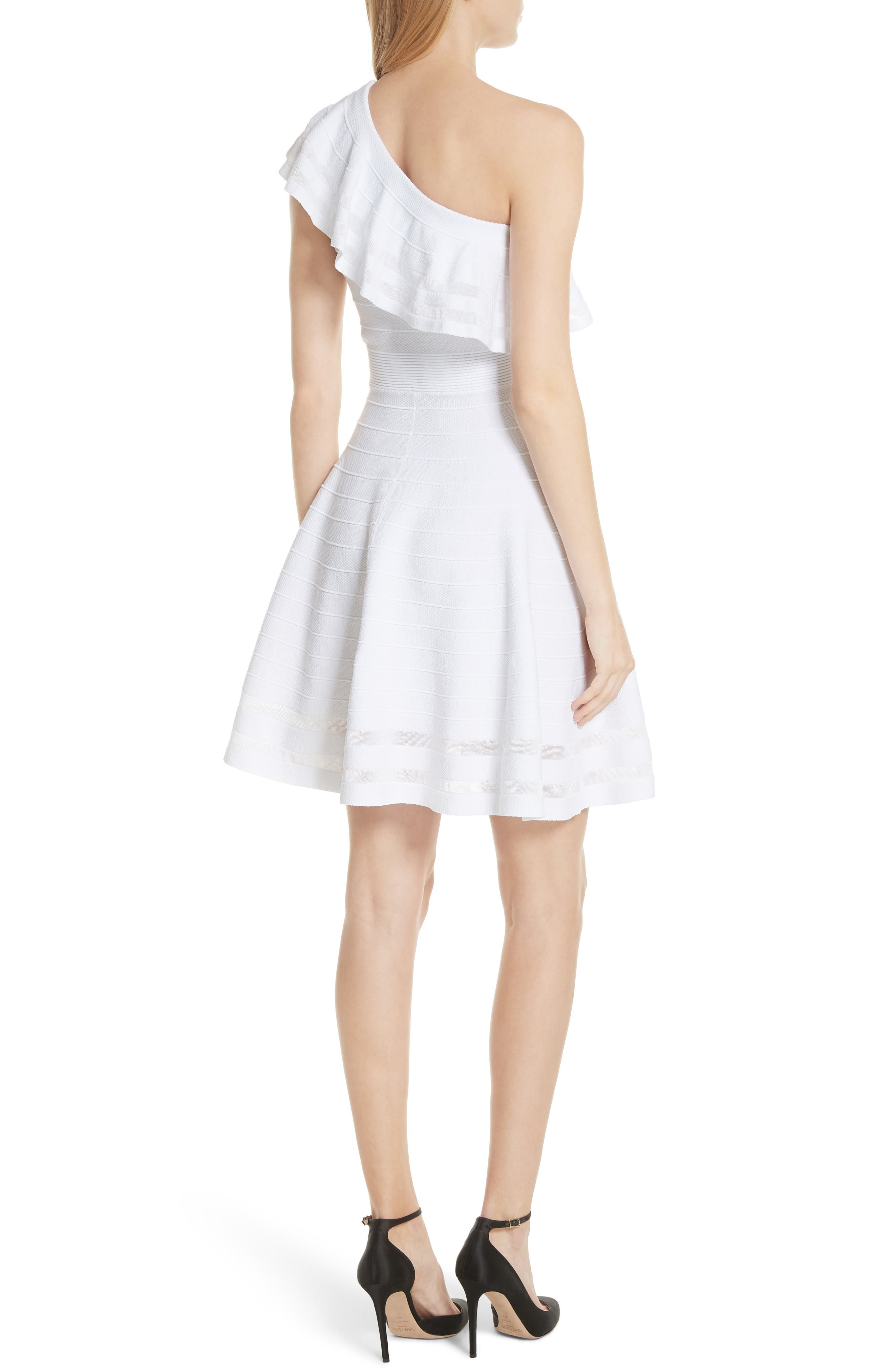 Streena Knit Skater Dress,                             Alternate thumbnail 2, color,                             White
