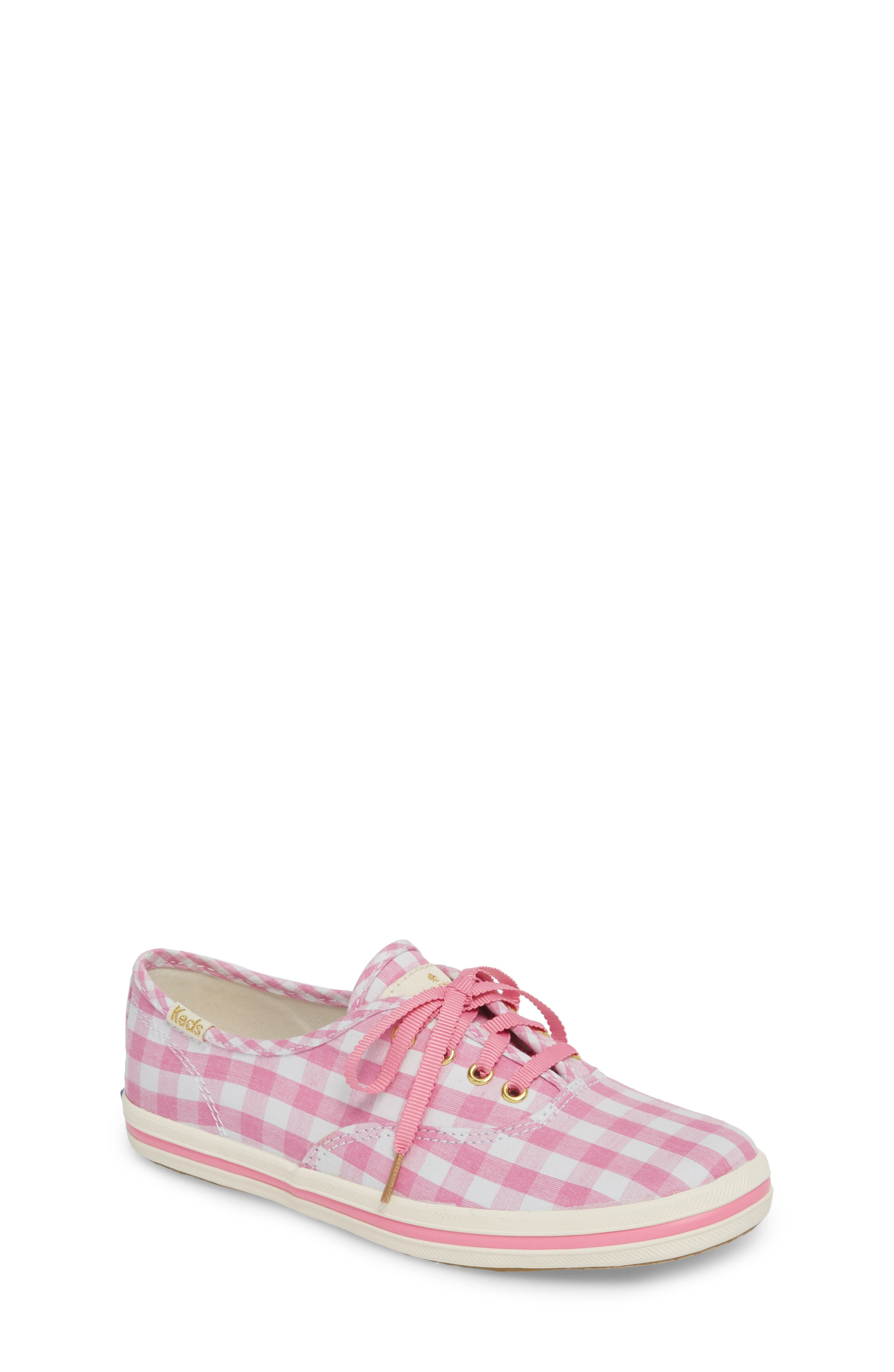 x kate spade new york champion gingham lace-up shoe,                         Main,                         color, Pink Gingham
