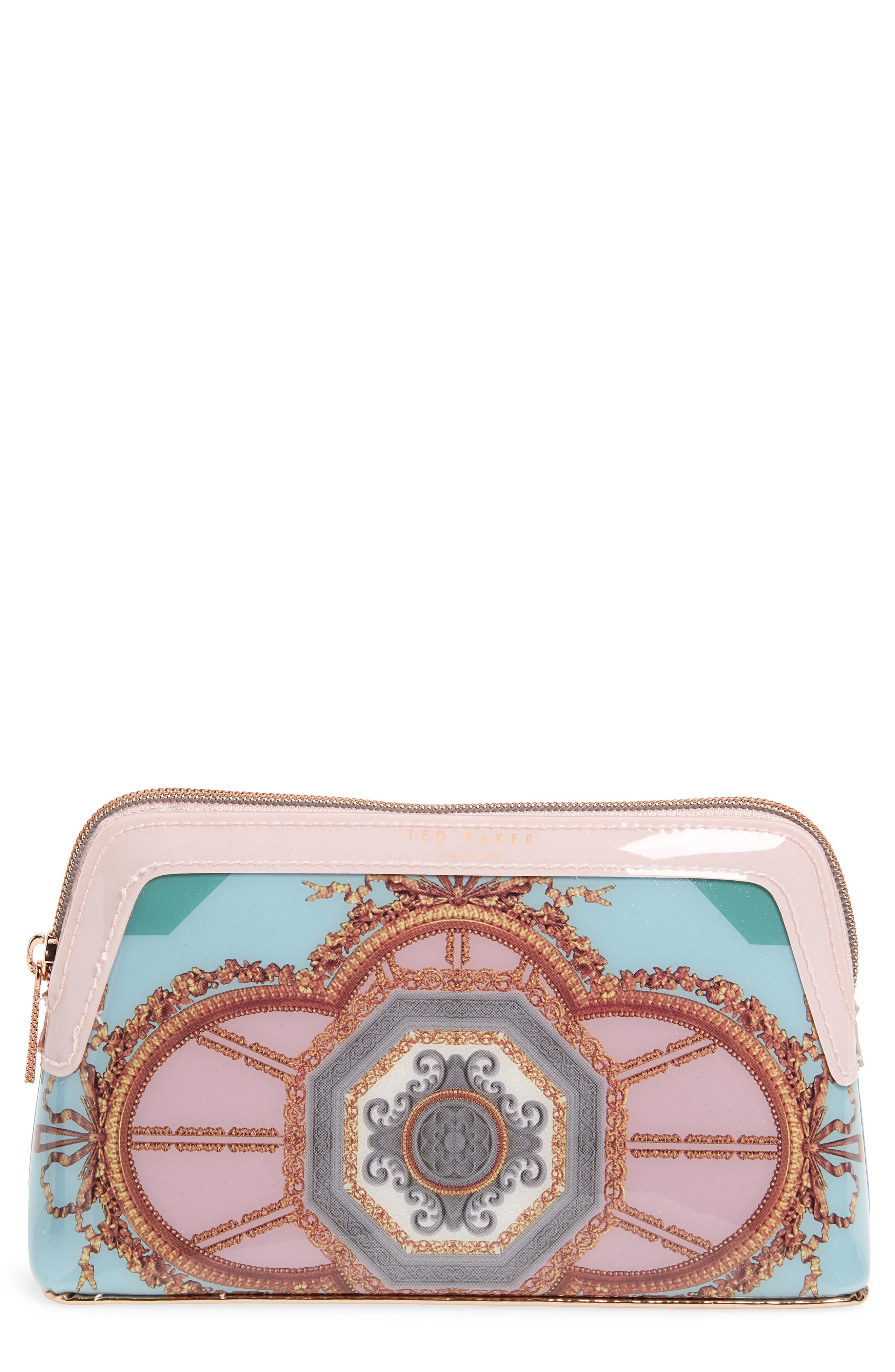 Dona Versailles Print Cosmetics Bag,                         Main,                         color, Teal