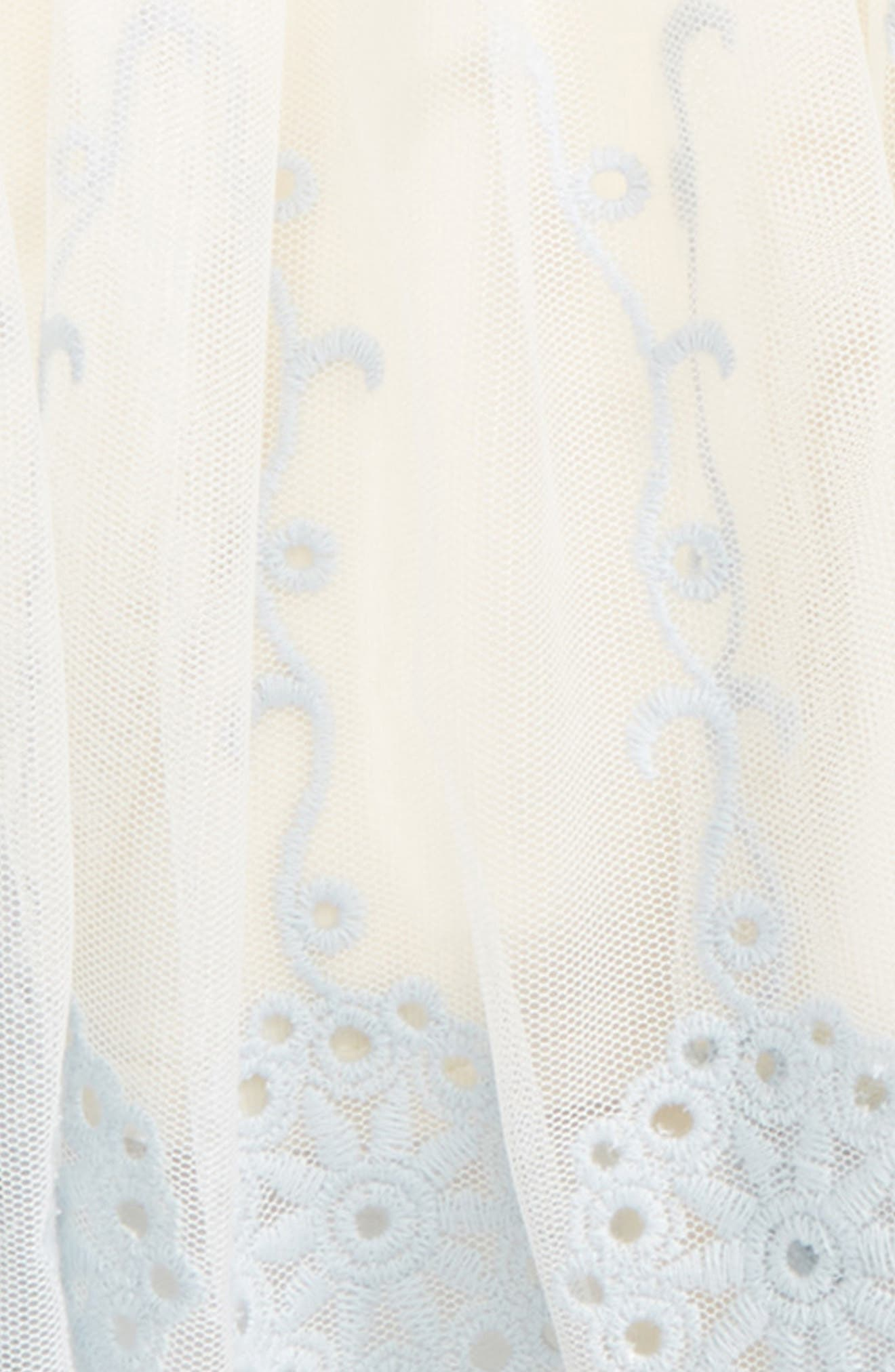 Embroidered Party Dress,                             Alternate thumbnail 2, color,                             Ivory/ Blue
