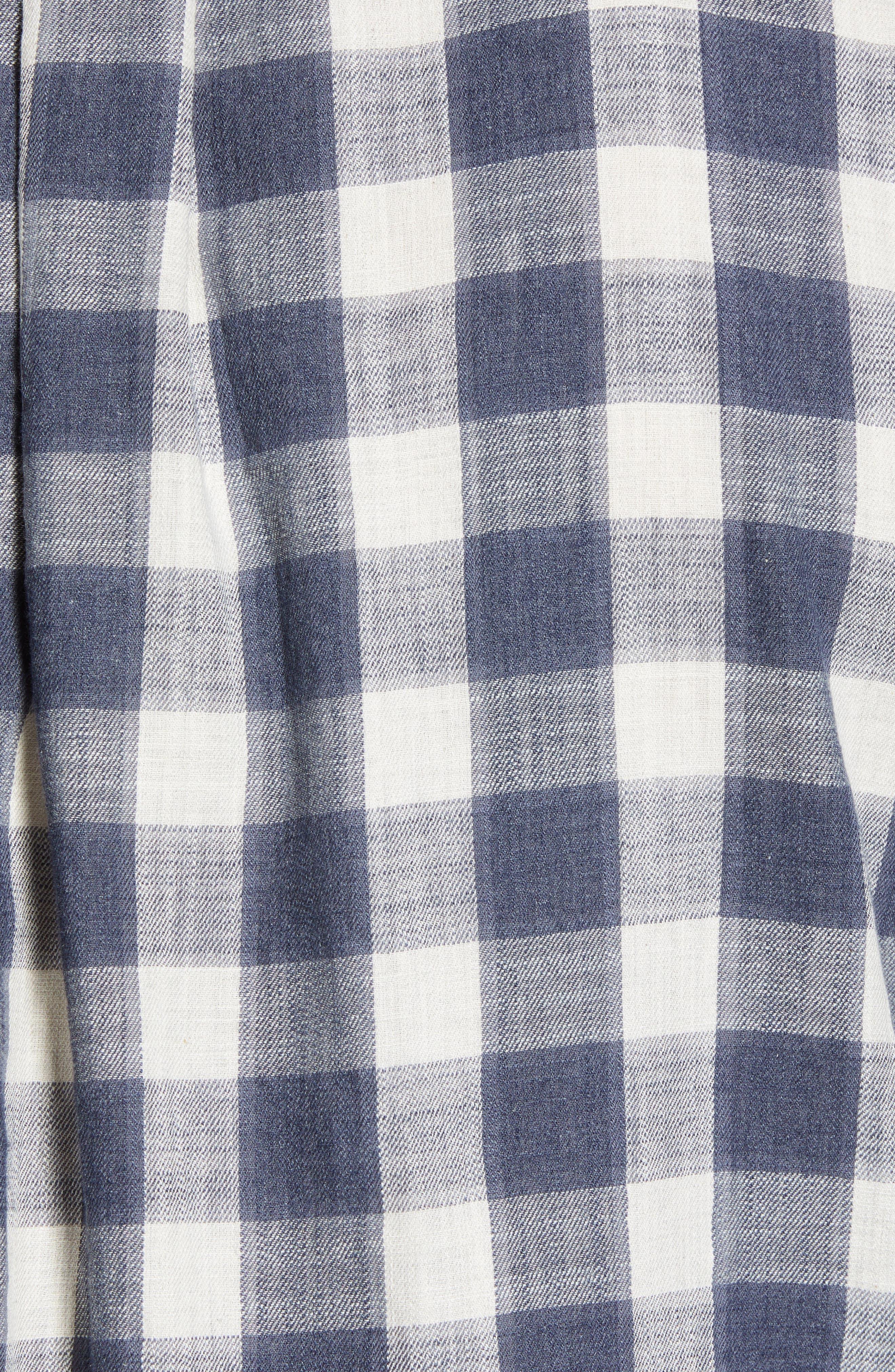 Gingham Twill Sport Shirt,                             Alternate thumbnail 5, color,                             Grey Cream