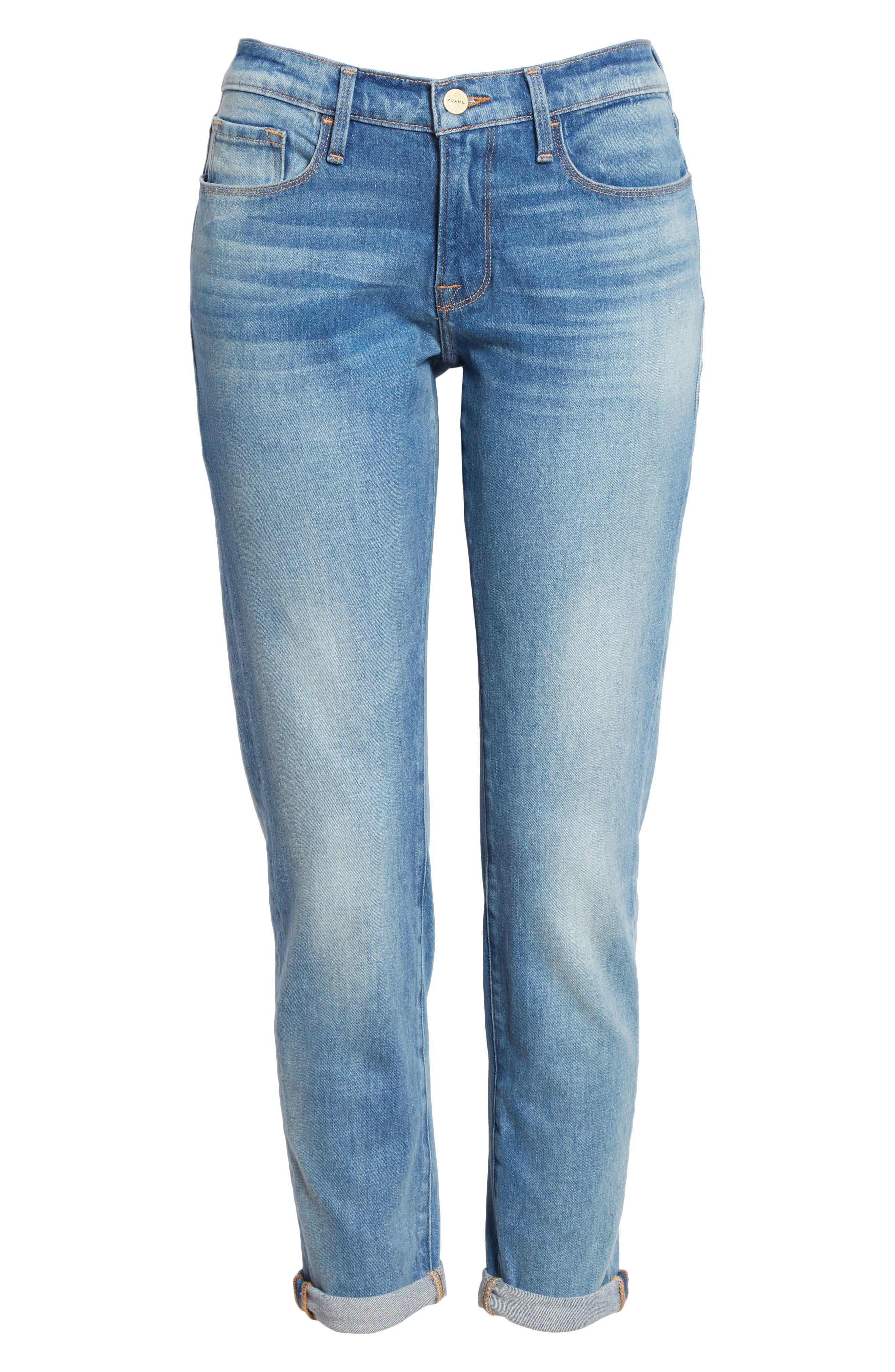 Le Garcon Crop Slim Boyfriend Jeans,                             Alternate thumbnail 6, color,                             Silva