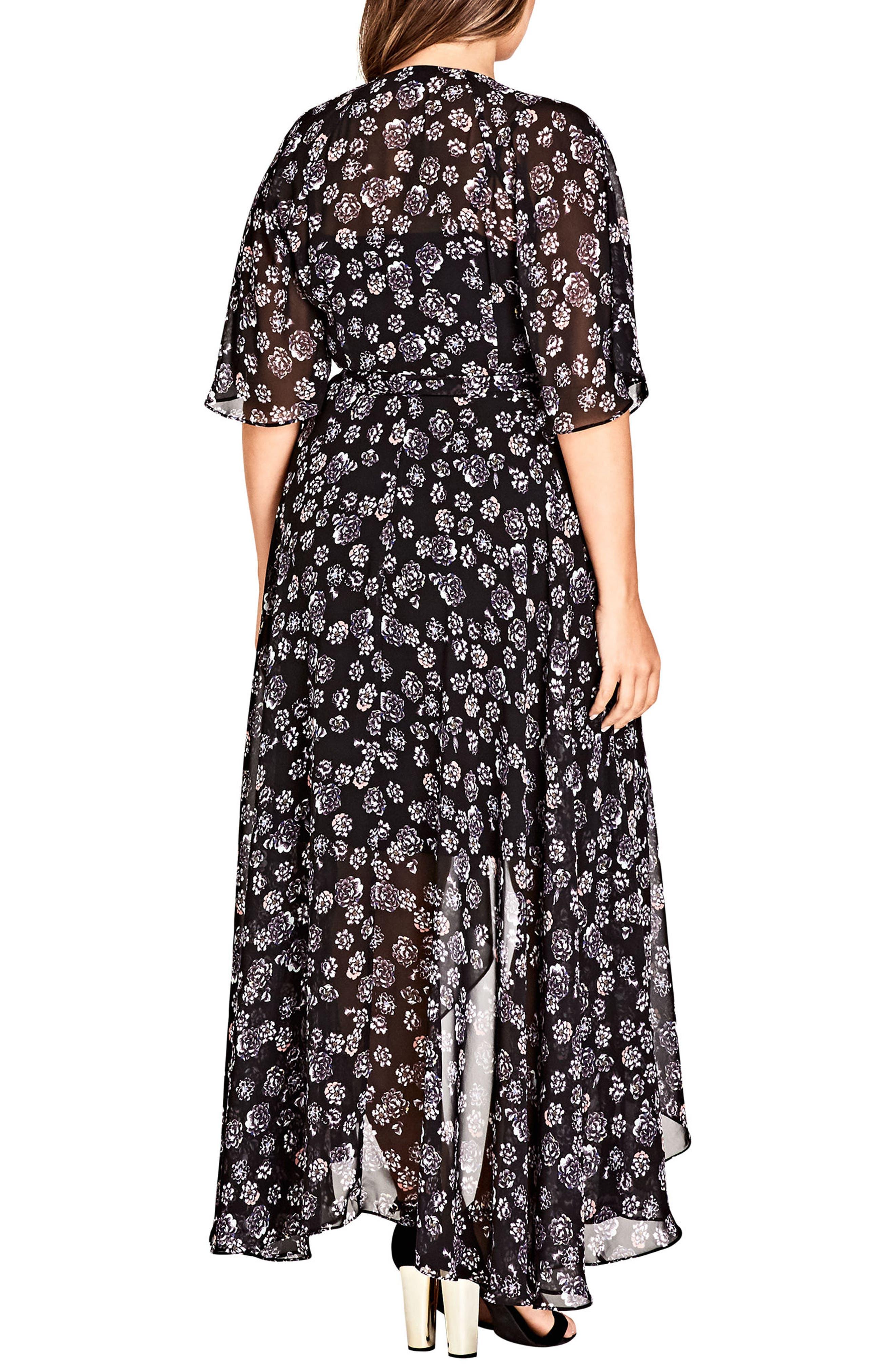 Alternate Image 2  - City Chic Mini Flower Maxi Dress (Plus Size)