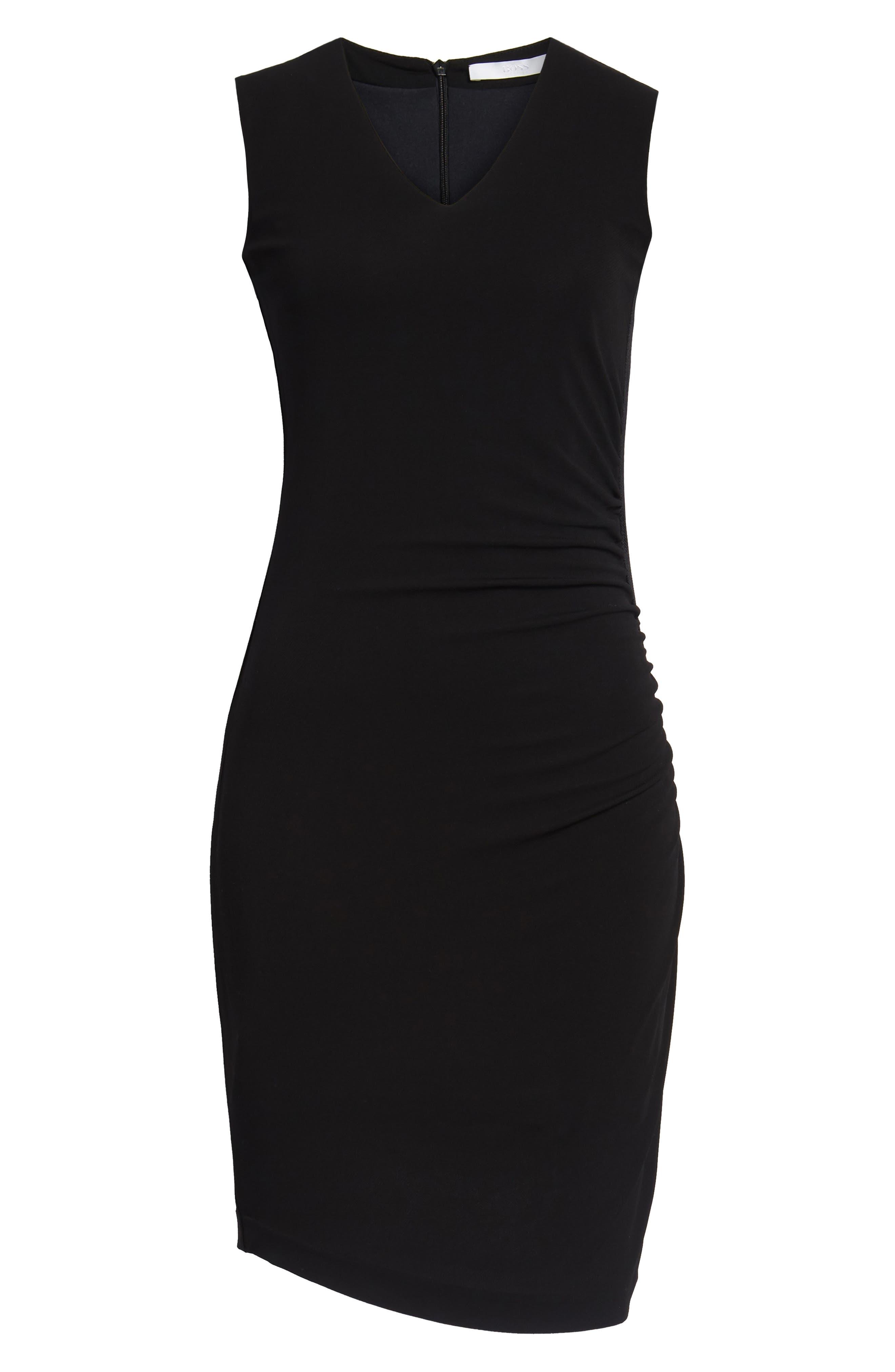 Erela Ruched Sheath Dress,                             Alternate thumbnail 7, color,                             Black
