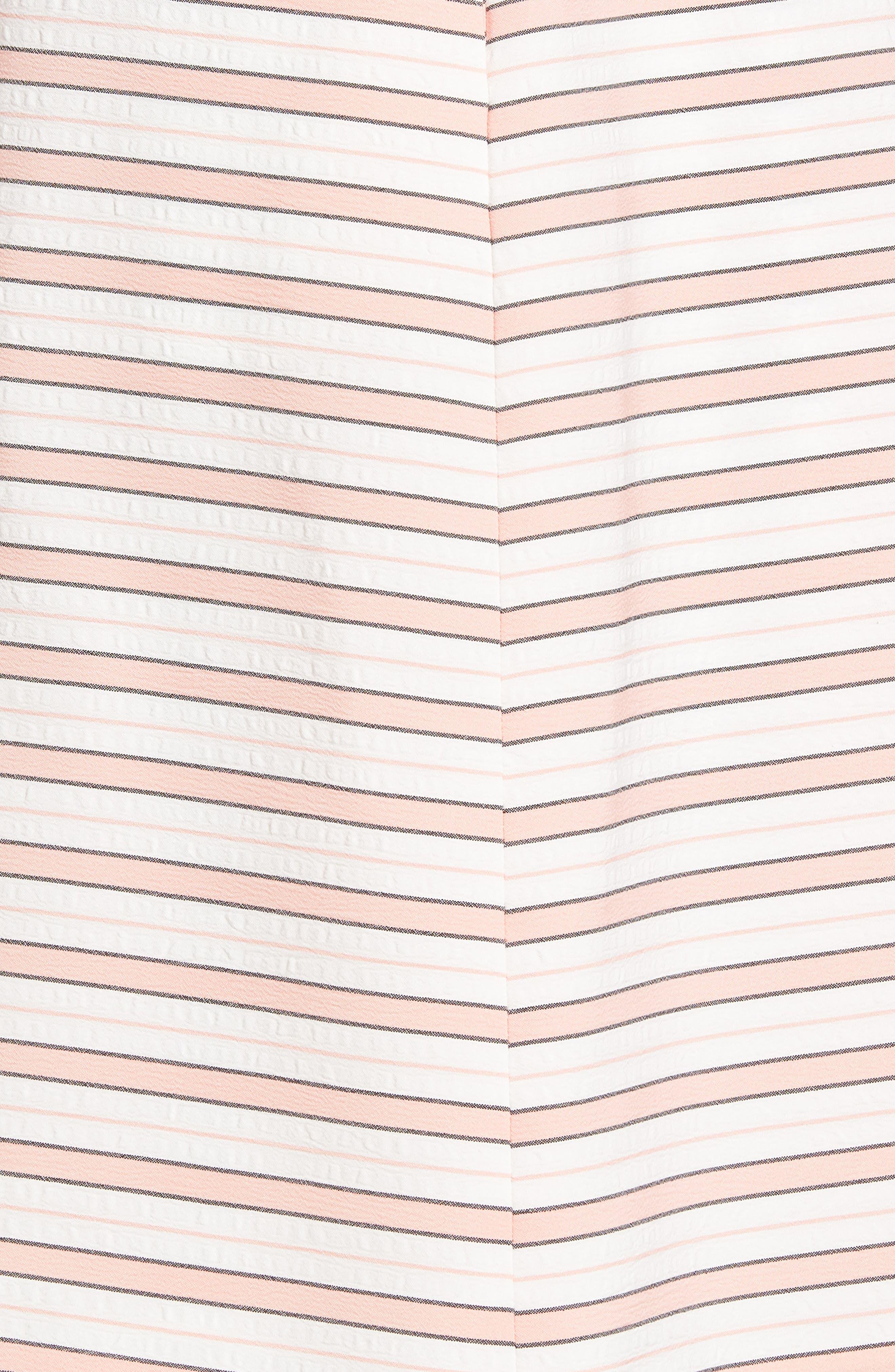 Stripe Tie Waist Dress,                             Alternate thumbnail 6, color,                             Pink Stripe