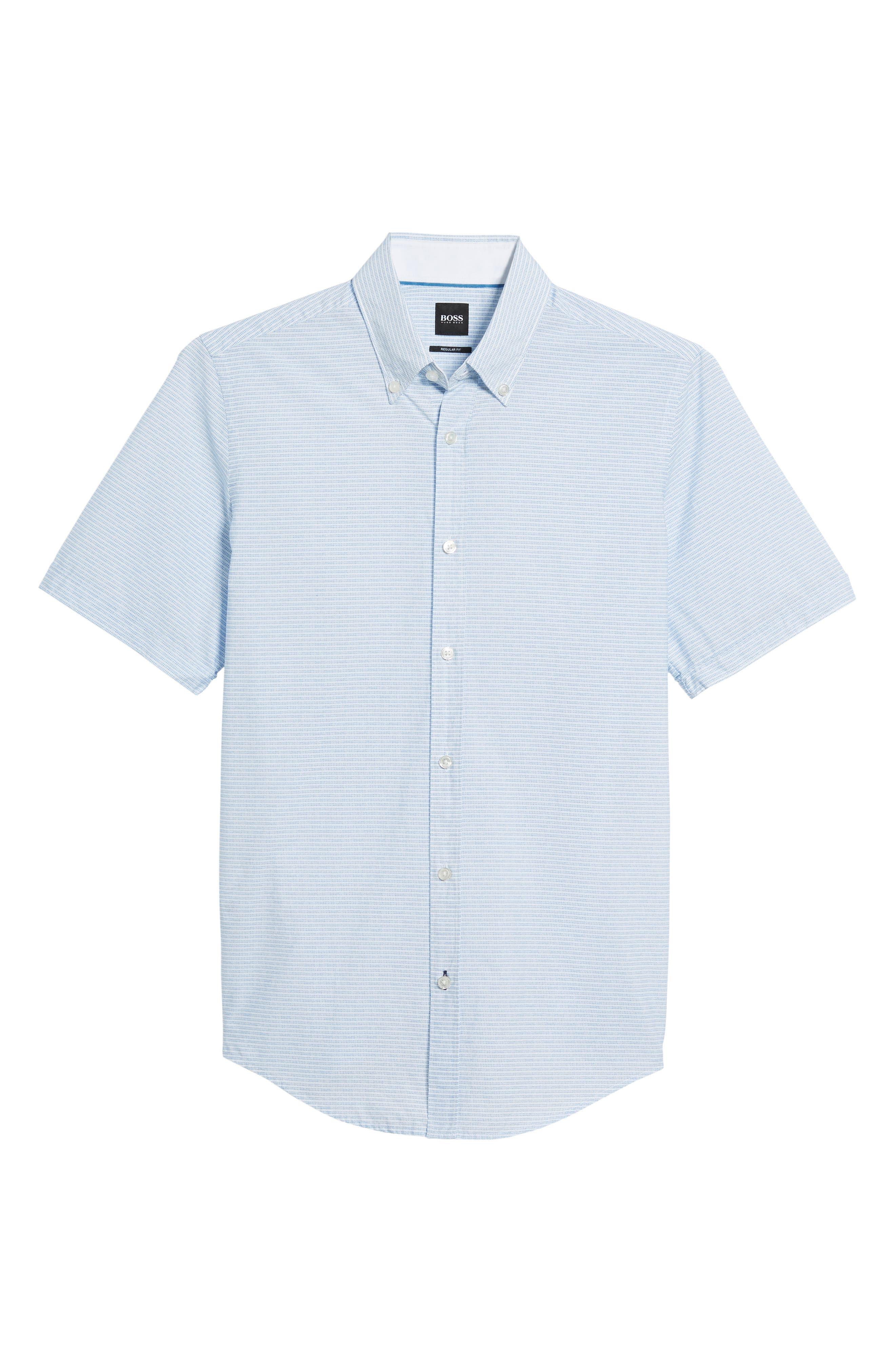 Lodi Slim Fit Stripe Sport Shirt,                             Alternate thumbnail 6, color,                             Light Blue