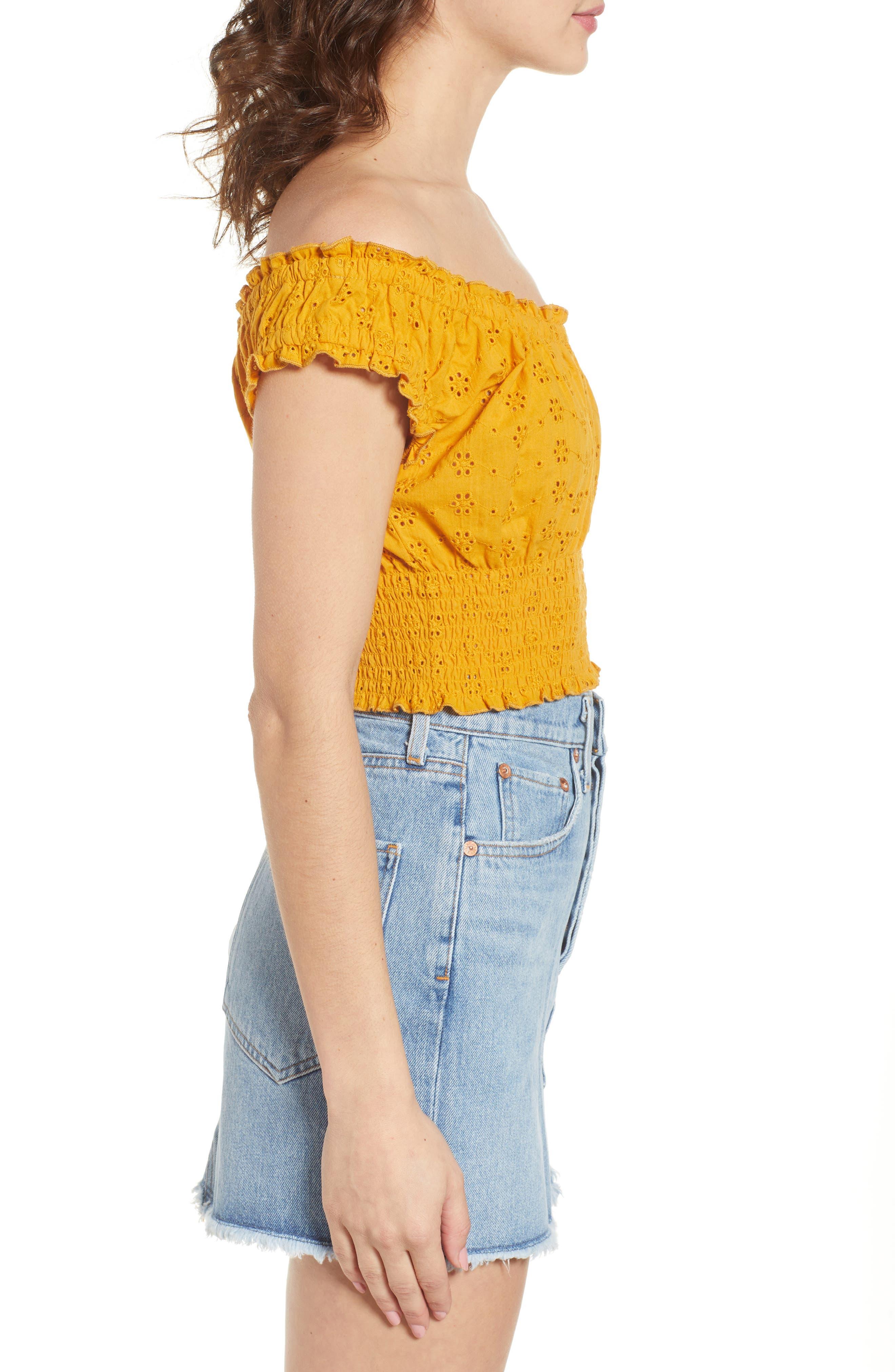 Off the Shoulder Eyelet Top,                             Alternate thumbnail 3, color,                             Marigold