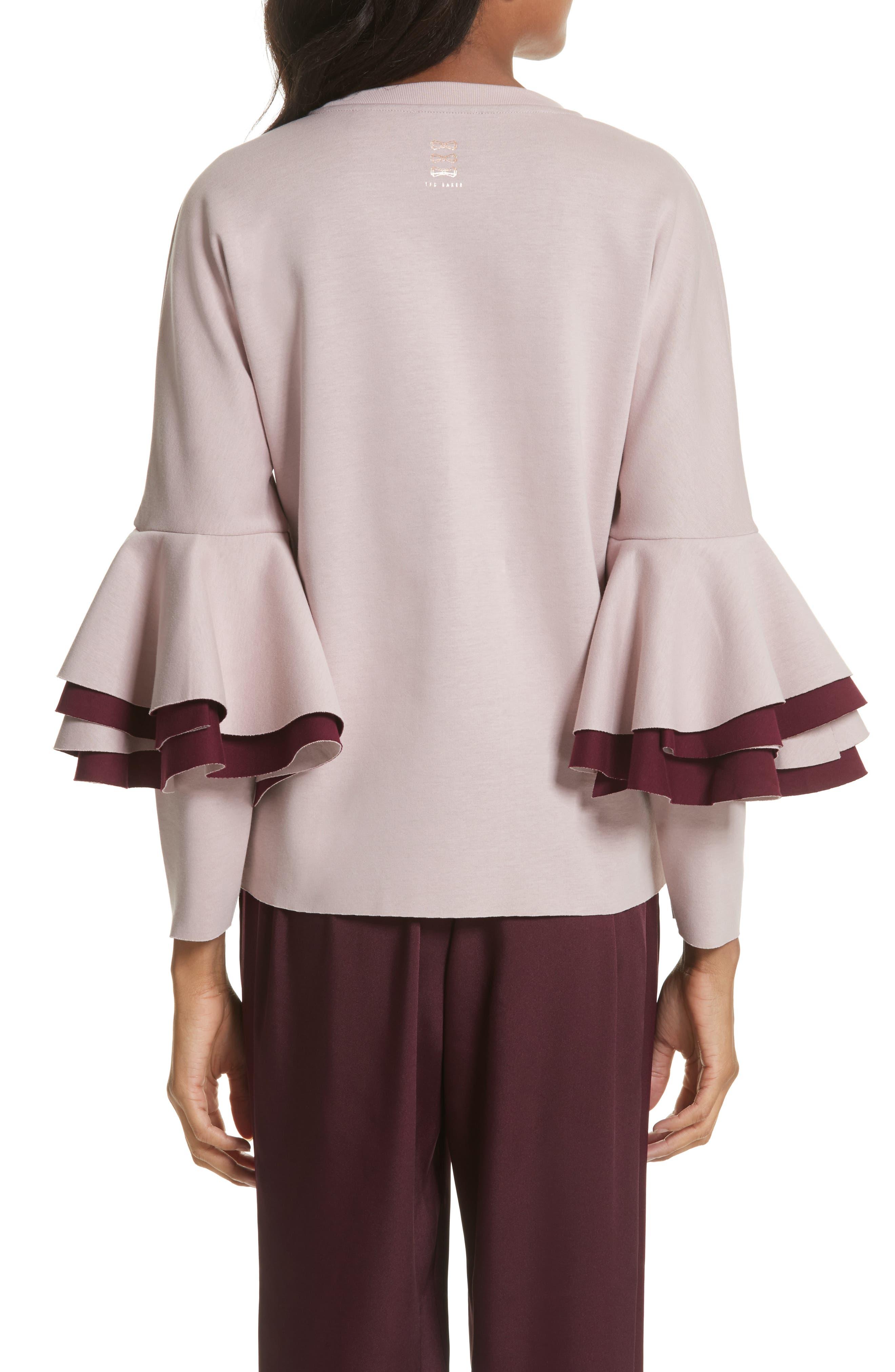 Frill Sleeve Sweatshirt,                             Alternate thumbnail 2, color,                             Dusky Pink