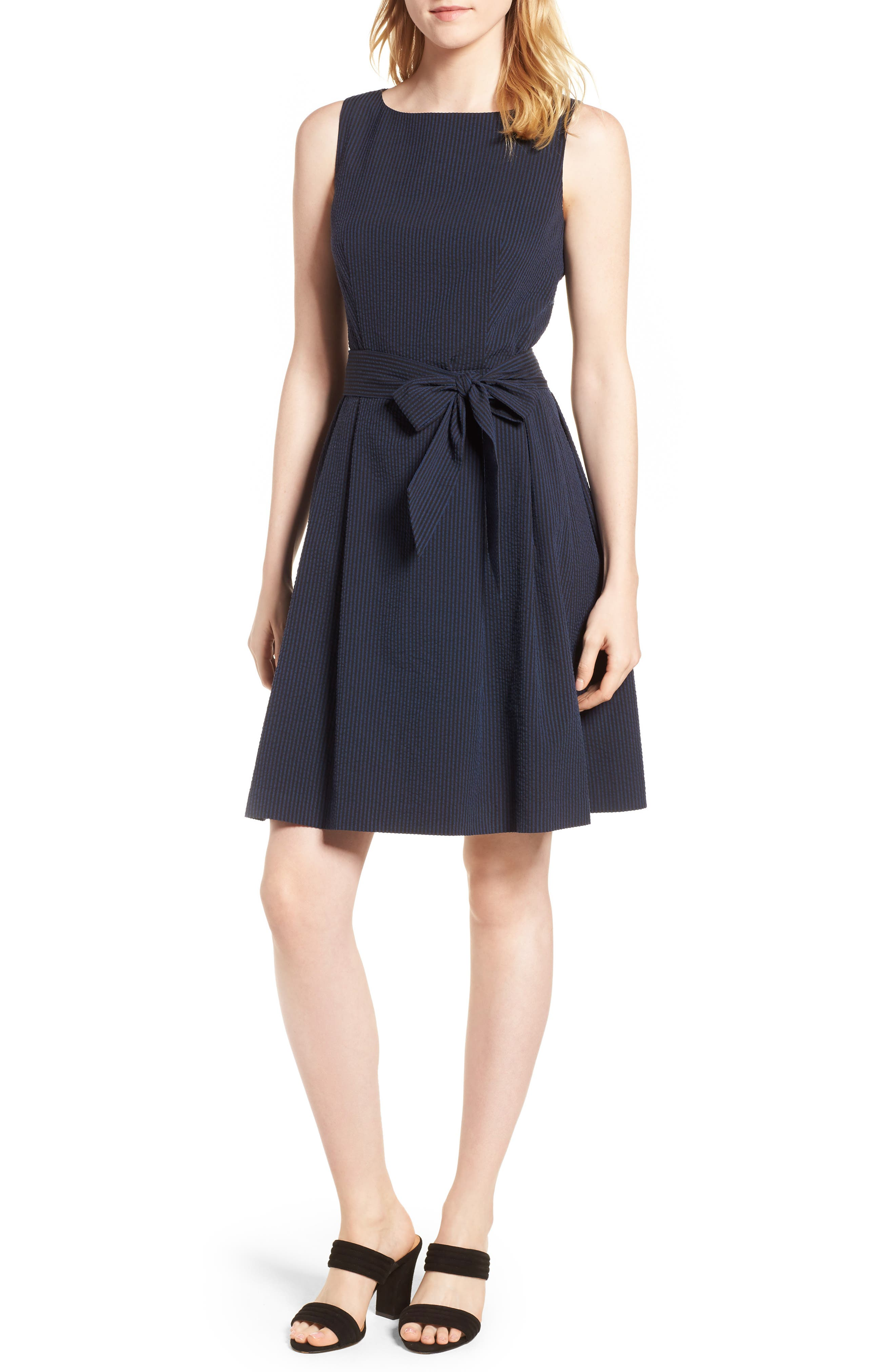 Seersucker Fit & Flare Dress,                         Main,                         color, Breton Blue Black