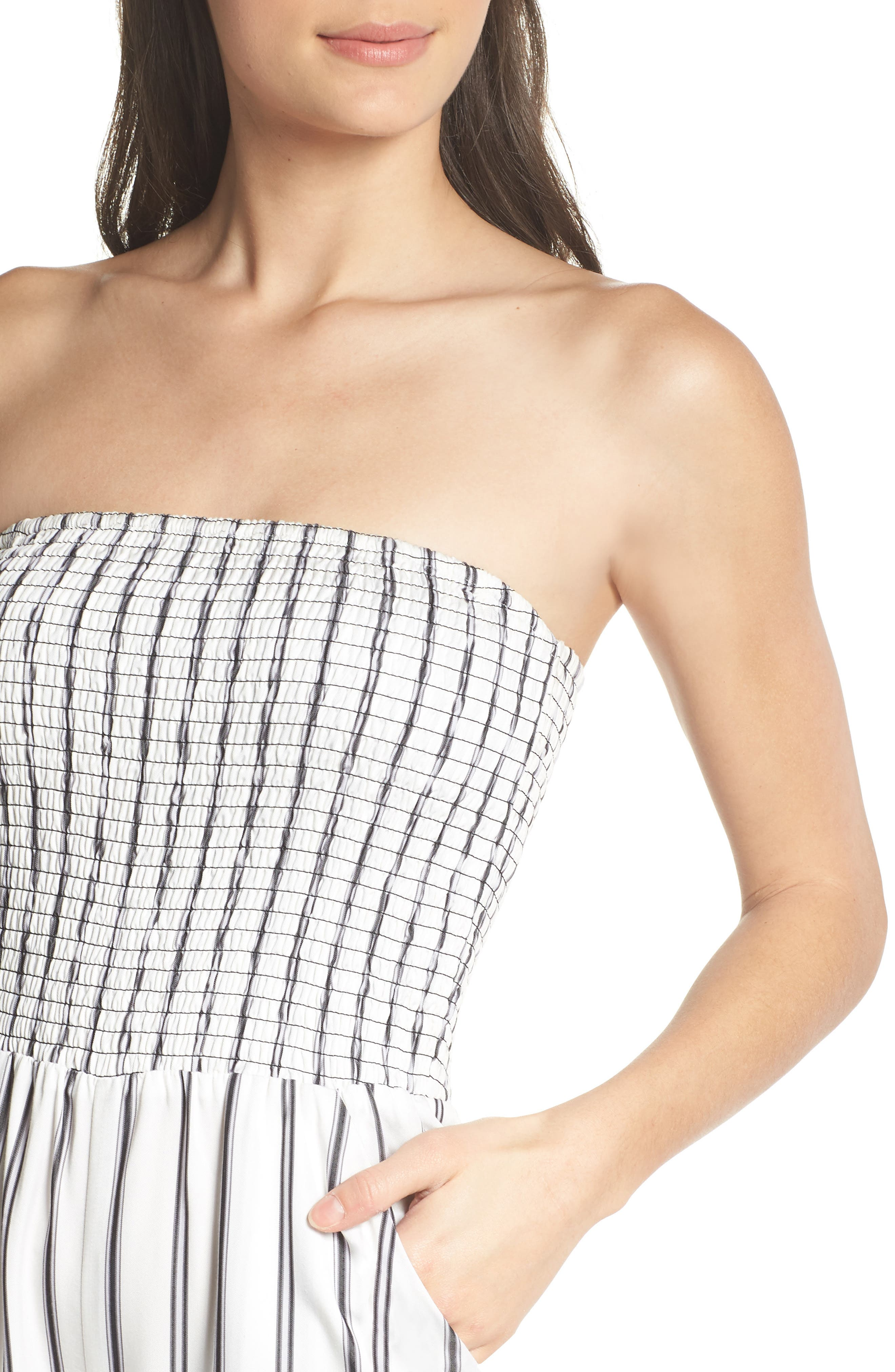 Get in the Grove Stripe Strapless Jumpsuit,                             Alternate thumbnail 4, color,                             Black/ White Uneven Stripe