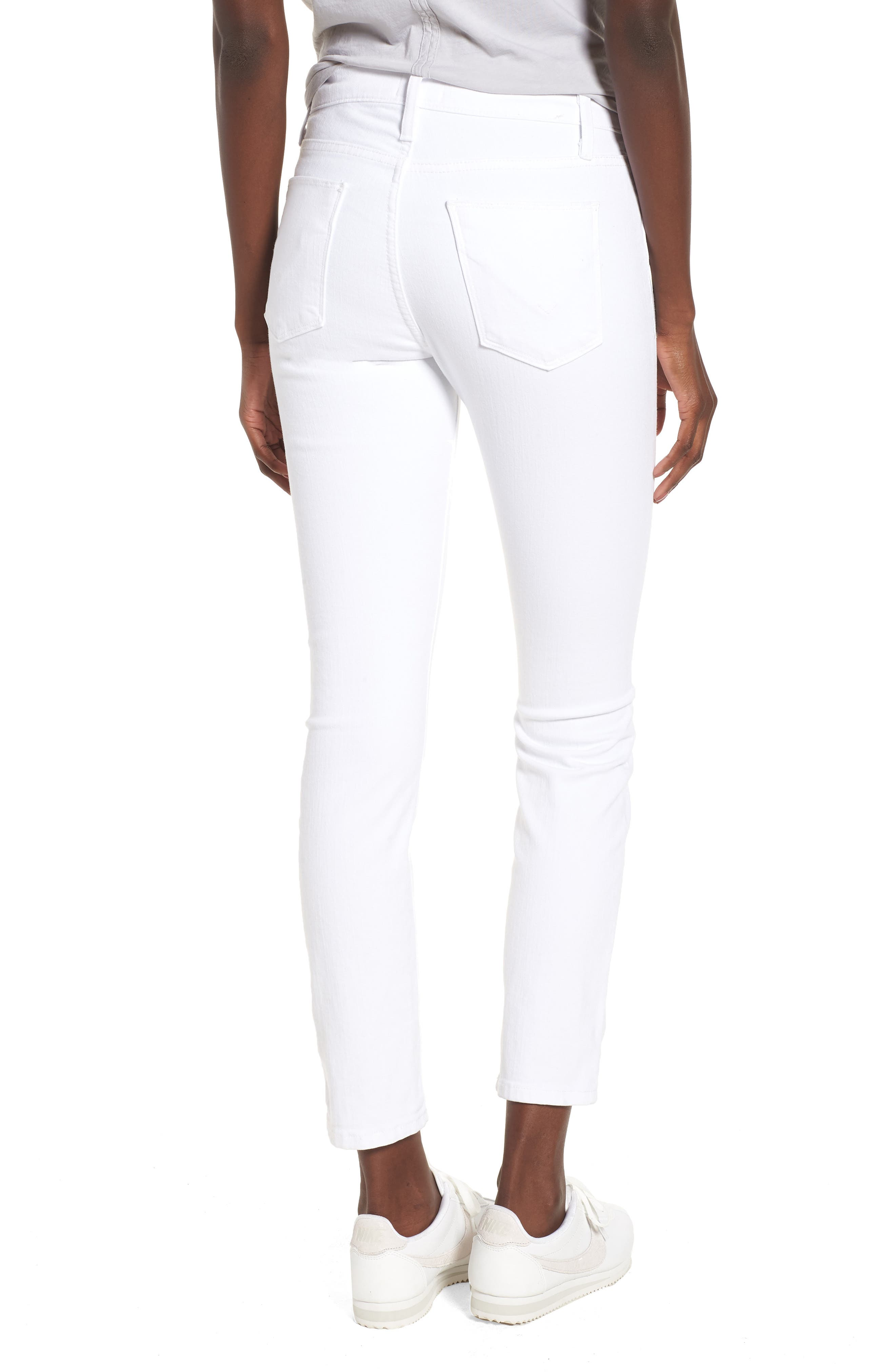 Barbara Exposed Zip High Waist Jeans,                             Alternate thumbnail 2, color,                             Optical White