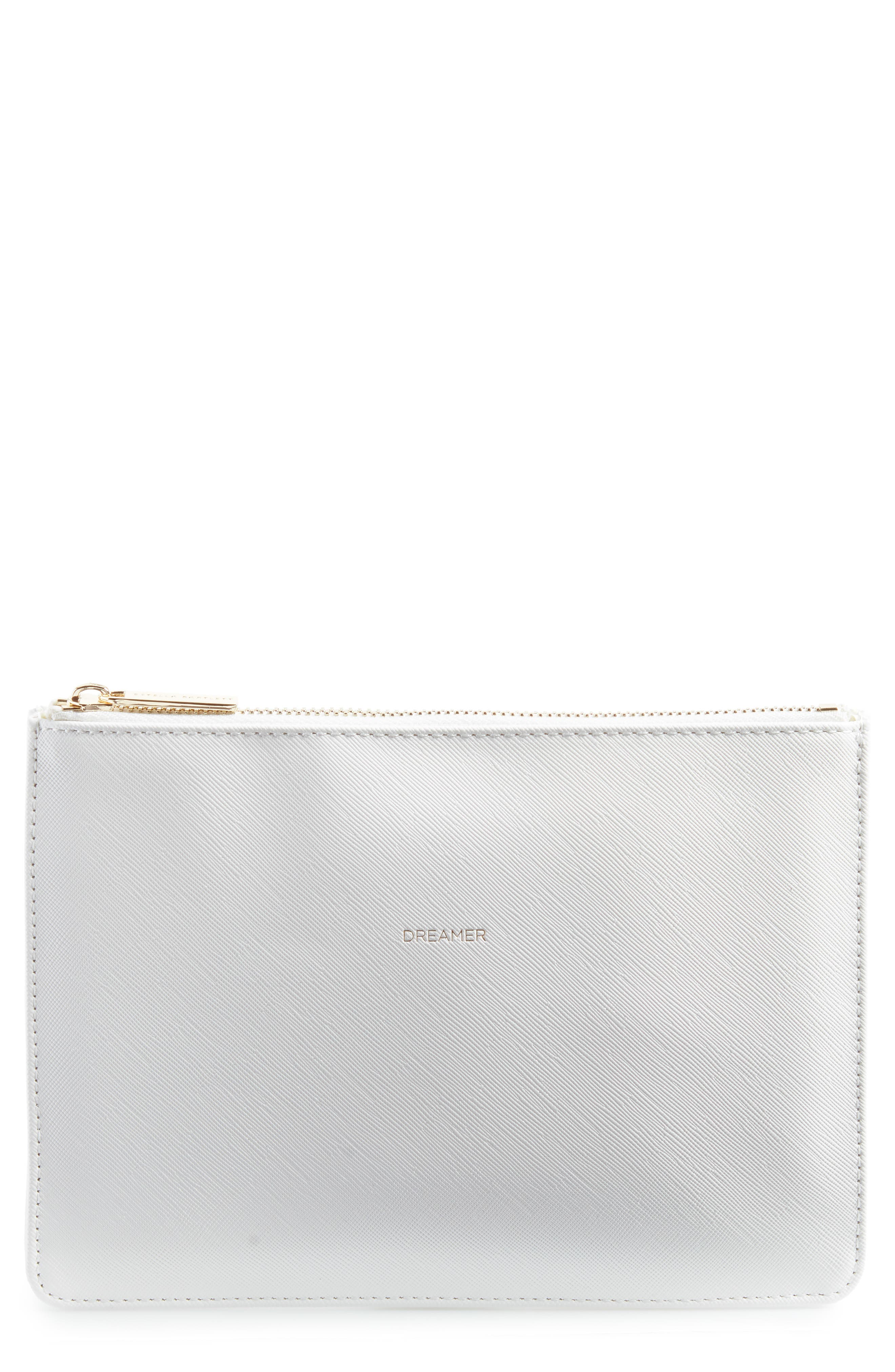 Live As You Dream Medium Faux Leather Pouch,                             Main thumbnail 1, color,                             Ivory