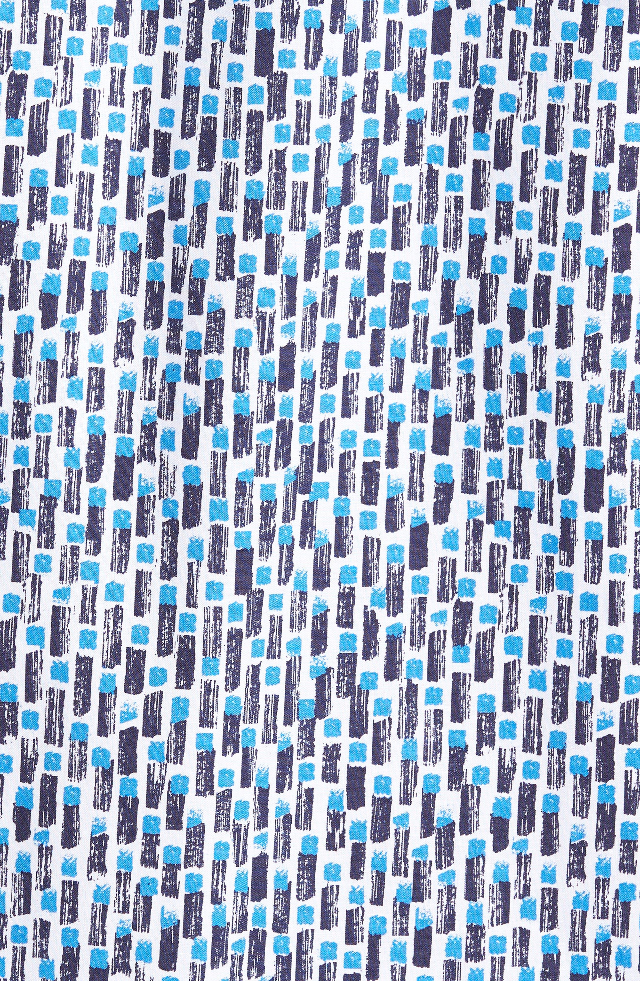 Empson Trim Fit Print Short Sleeve Sport Shirt,                             Alternate thumbnail 5, color,                             Blue
