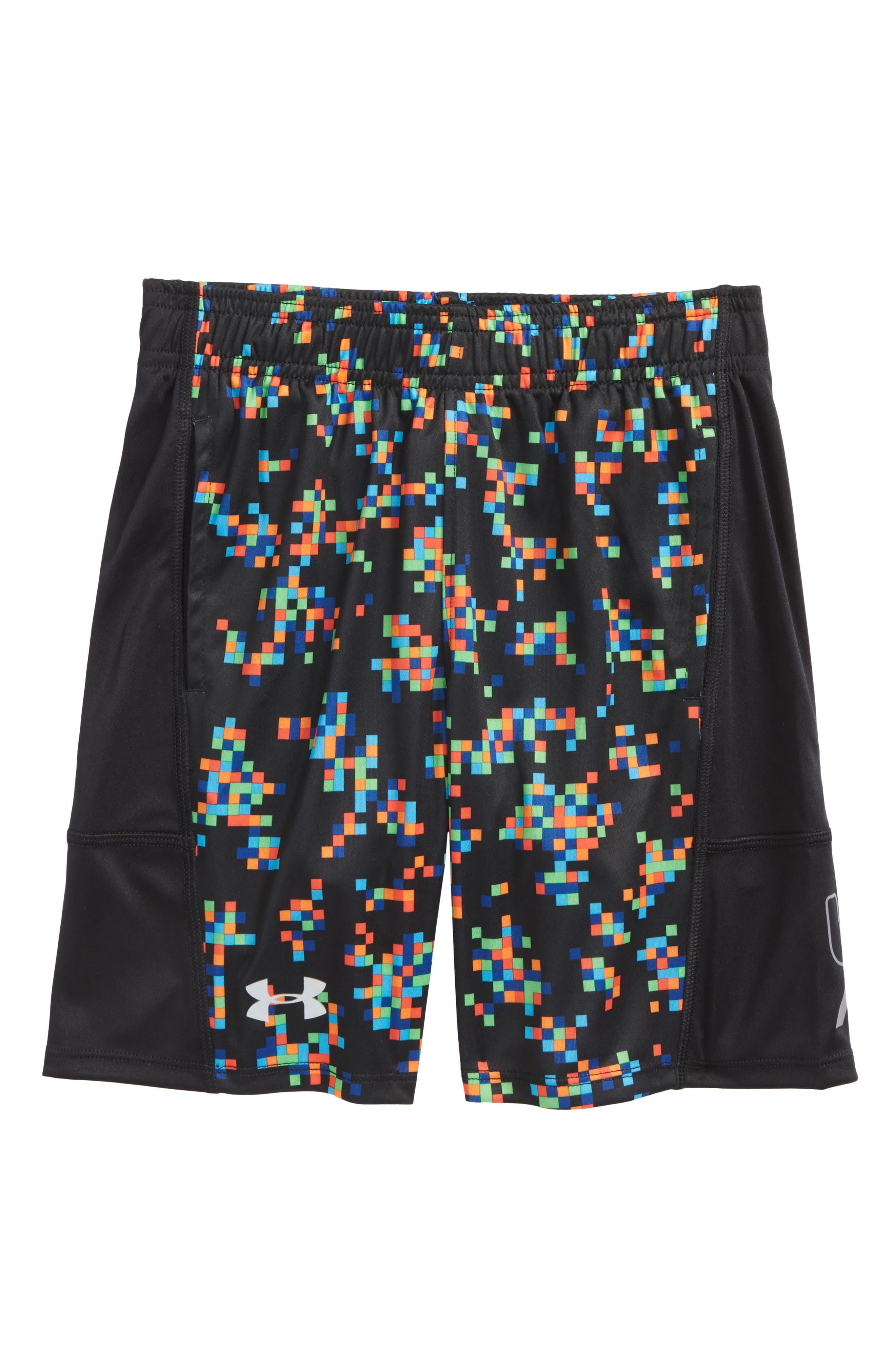 Digi Camo Stunt HeatGear<sup>®</sup> Shorts,                         Main,                         color, Black