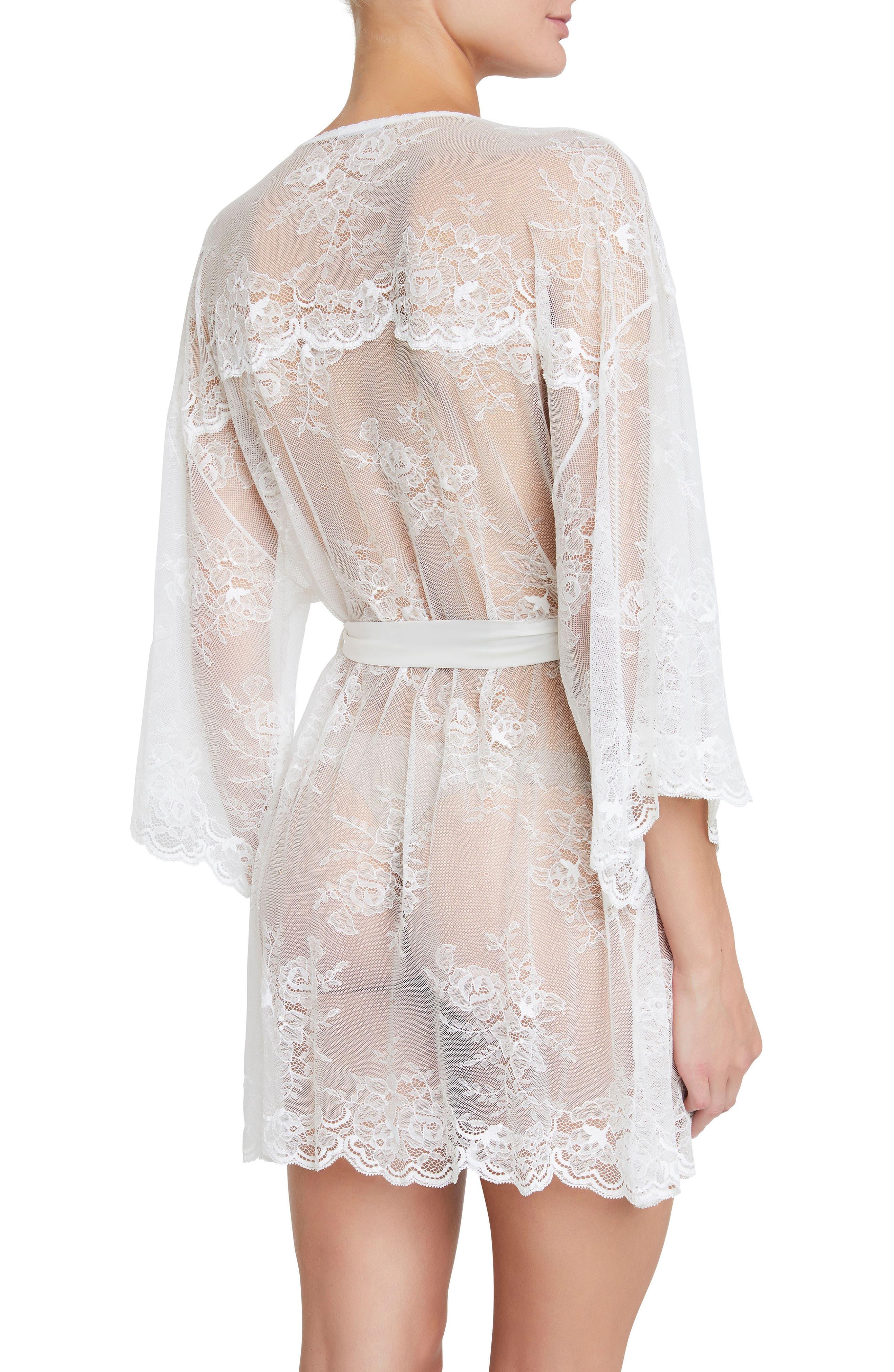 Aurora Short Lace Robe,                             Alternate thumbnail 2, color,                             Ivory