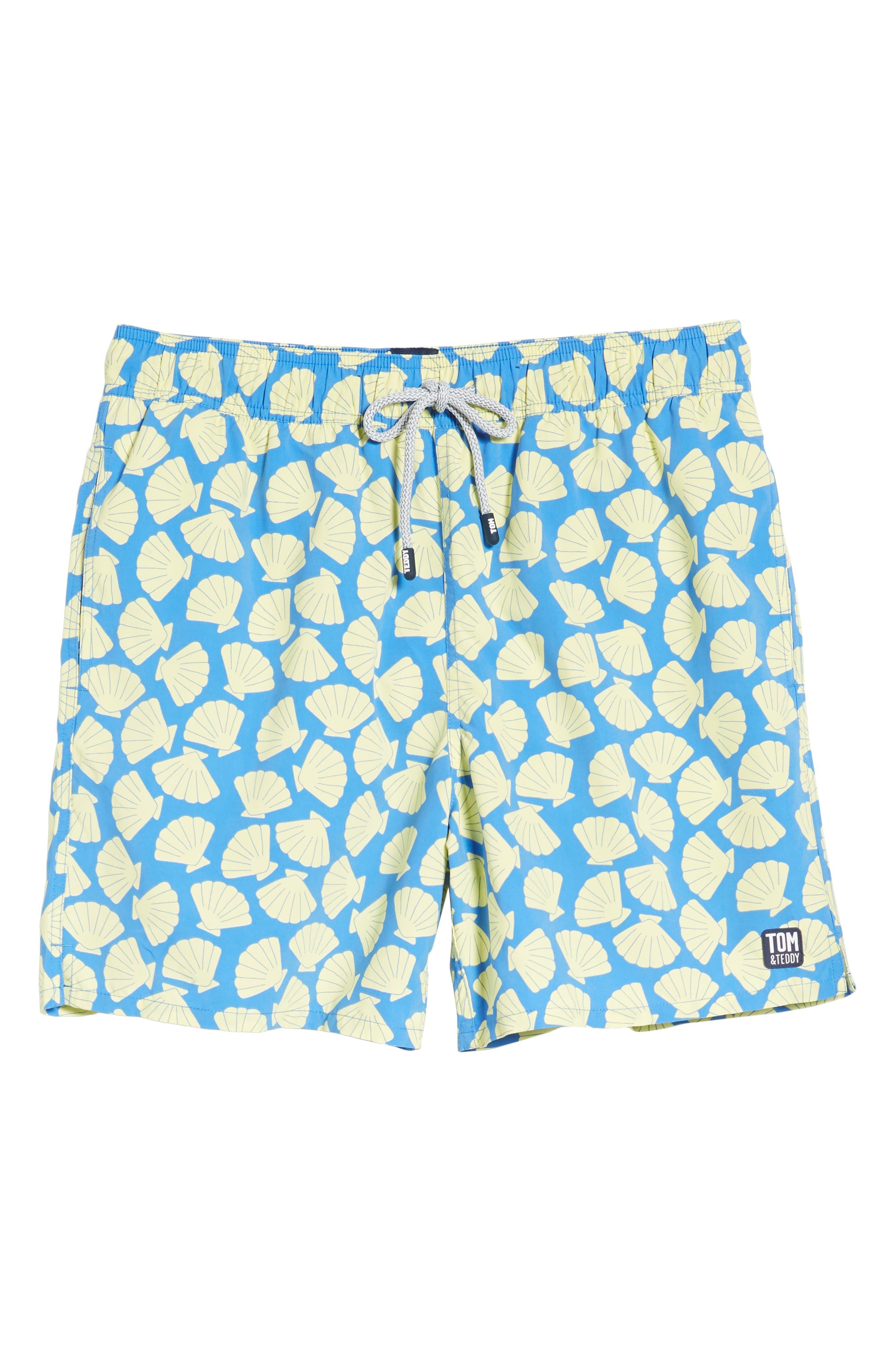 Shell Print Swim Trunks,                             Alternate thumbnail 6, color,                             Yellow