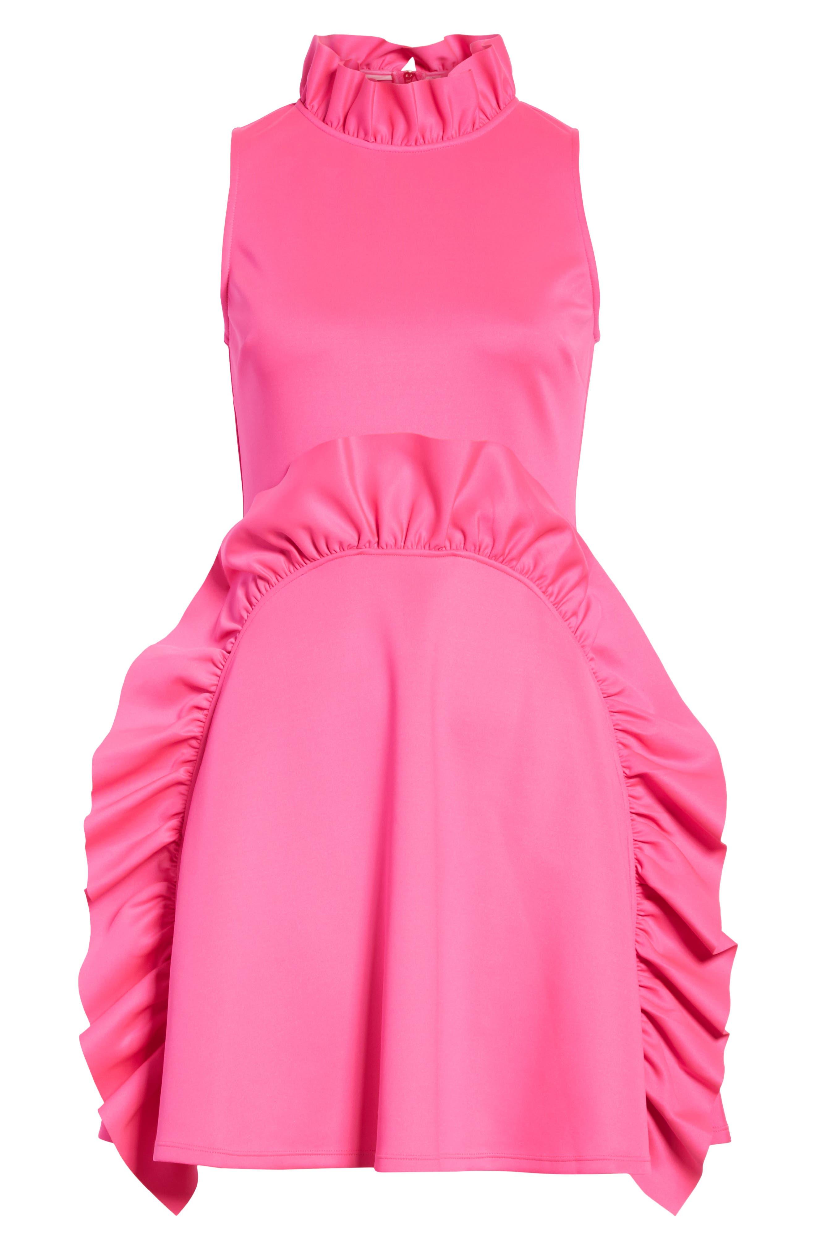 Jannett Laser Cut Ruffle Dress,                             Alternate thumbnail 6, color,                             Neon Pink